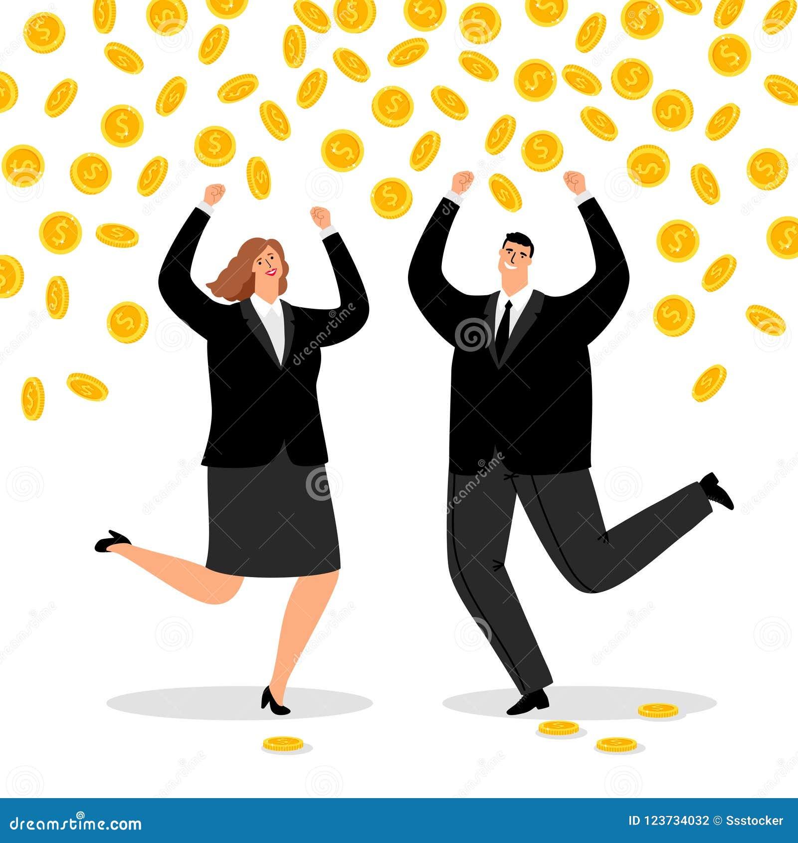 Pares ricos del negocio Lluvia del dinero para la mujer feliz de la oficina y hombre de negocios, flujo de dinero del efectivo pa