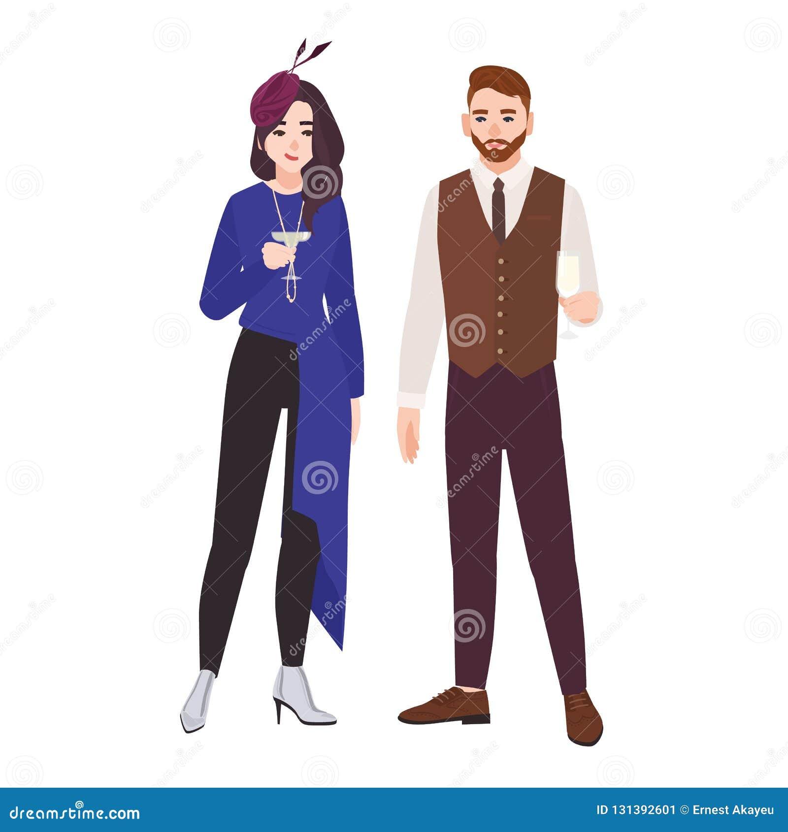 4b6e77730 Pares románticos jovenes vestidos en la ropa elegante elegante aislada en  el fondo blanco Hombre de moda y champán o cóctel de consumición de la mujer  en el ...