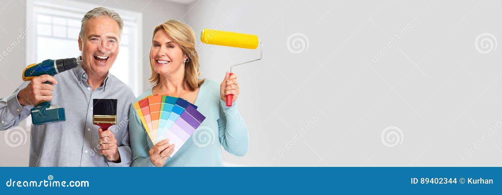 Pares superiores com o rolo da broca e de pintura