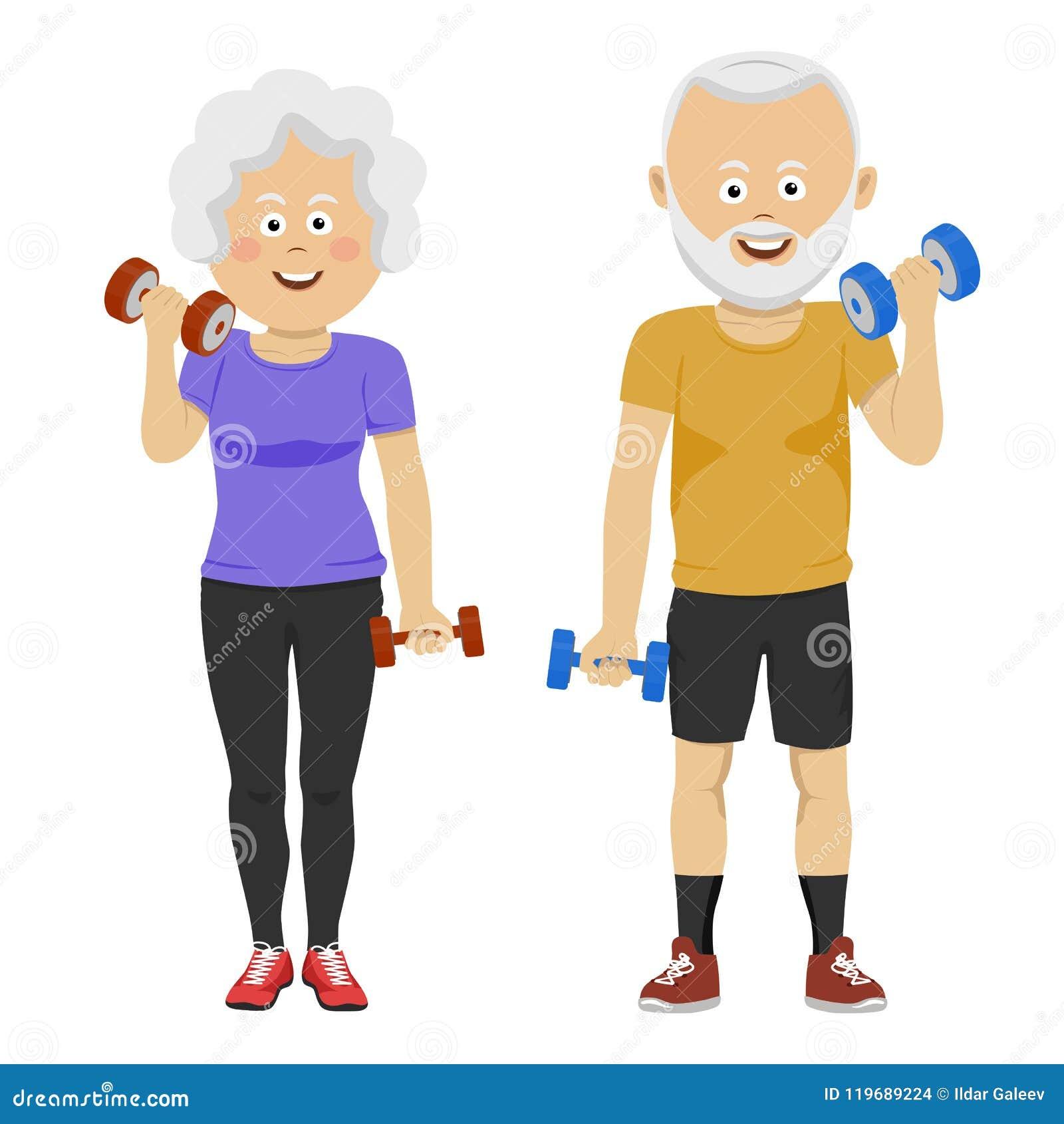 Pares superiores dos povos com sorriso dos pesos Programa de formação novo para pensionista Vida e esportes