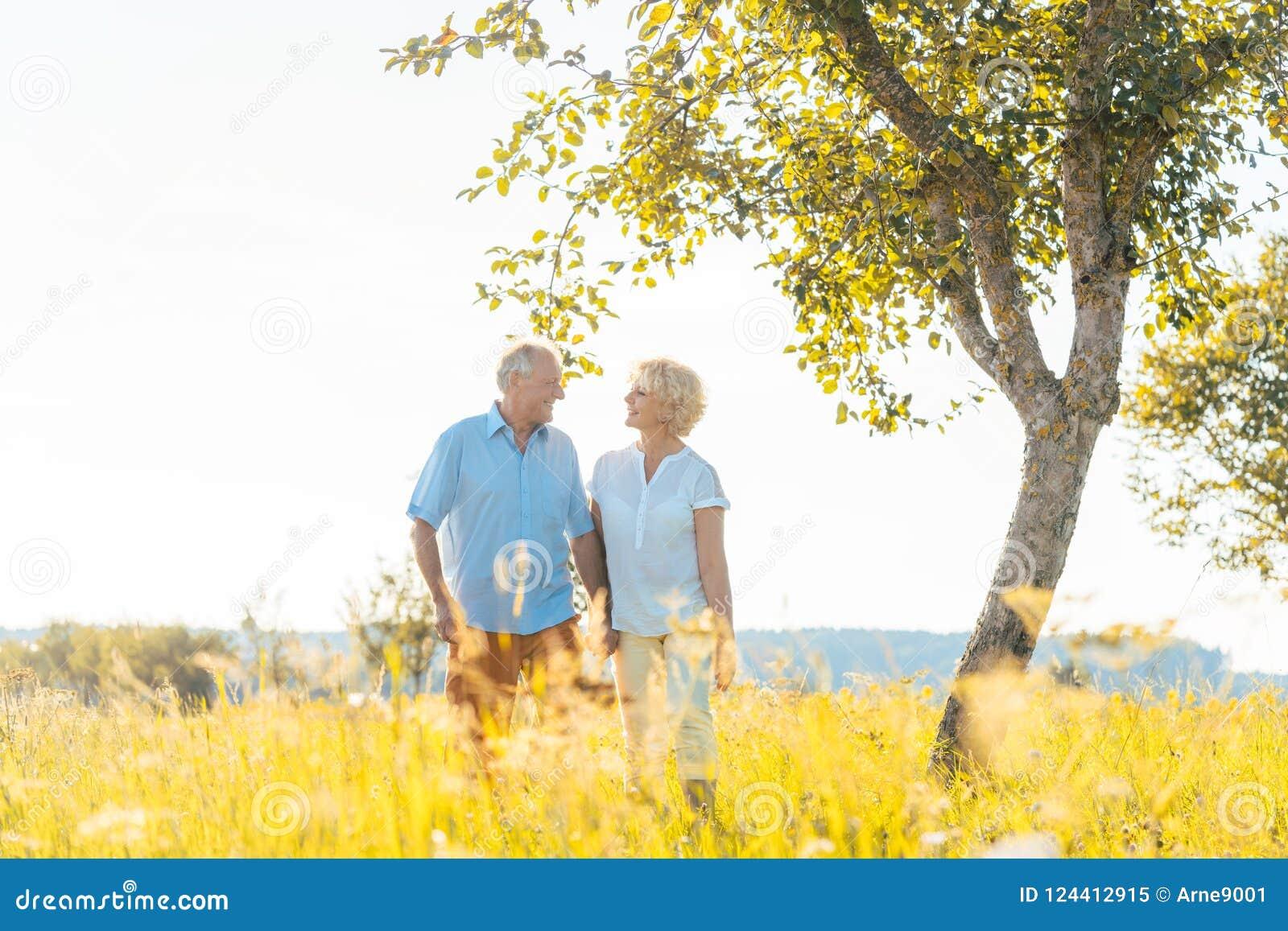Pares superiores românticos que guardam as mãos ao andar junto em um campo