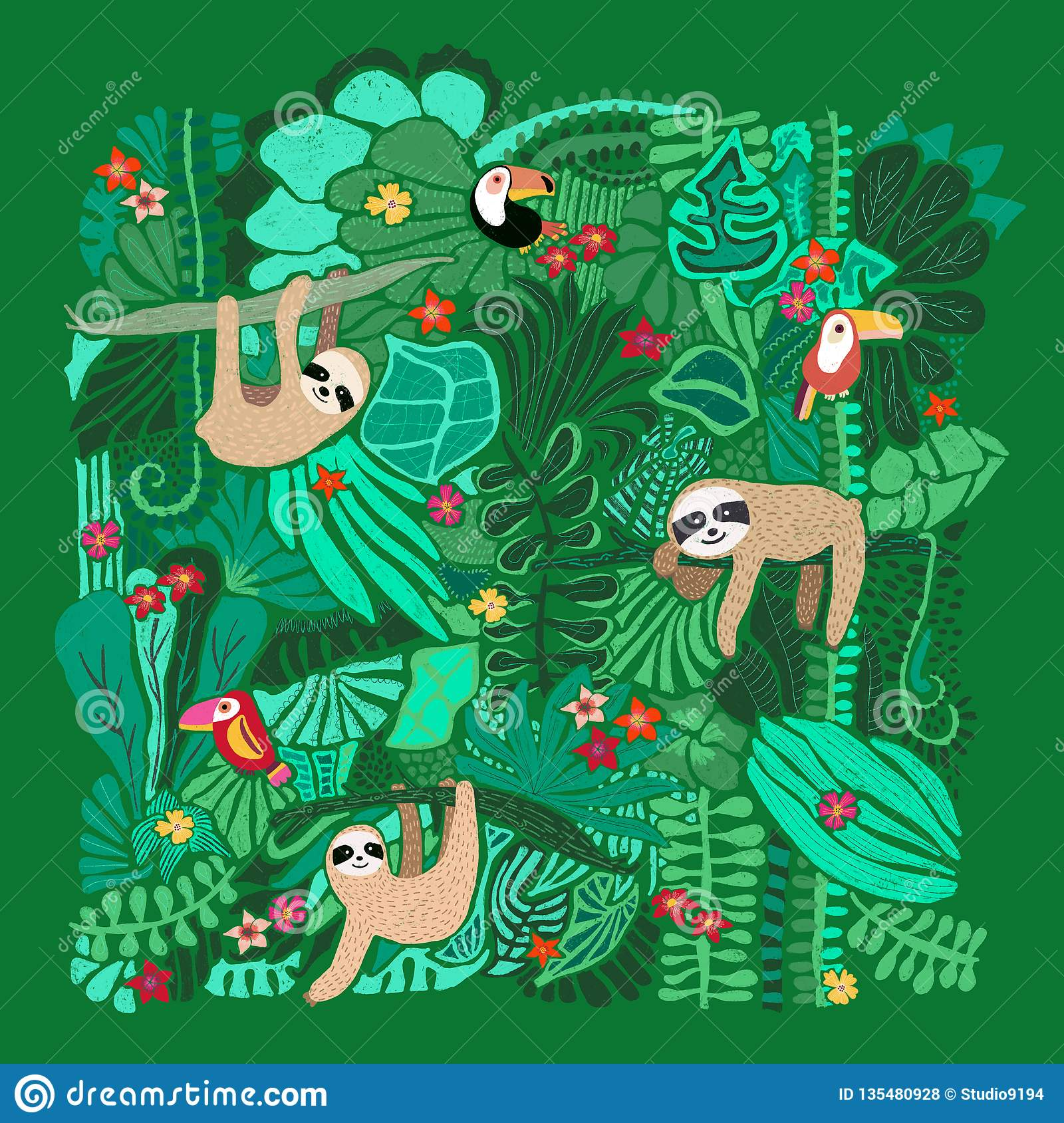 Paresses mignonnes accrochant sur des arbres de jungle Illustration animale adorable tirée par la main Illustration de forêt trop