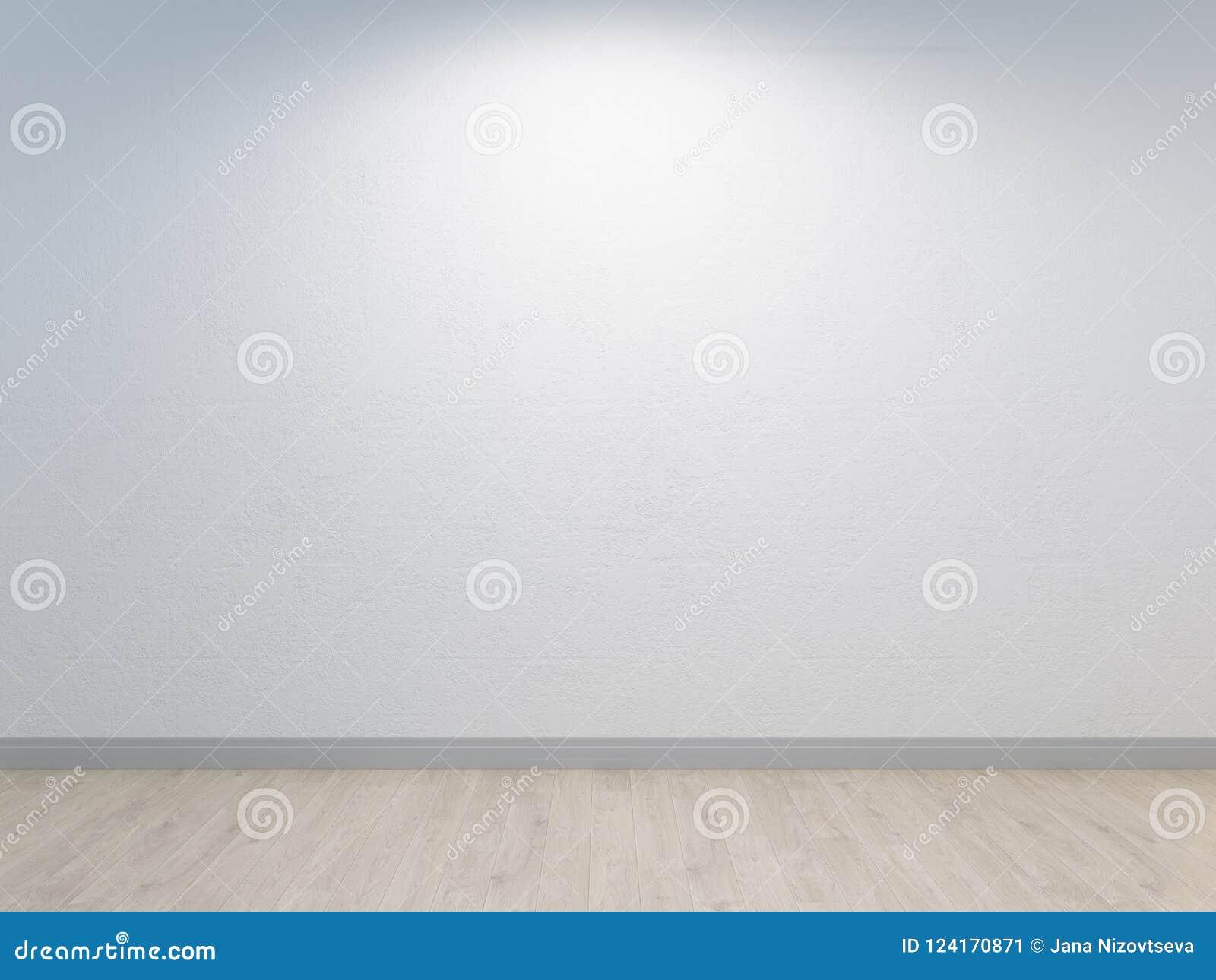 Parete bianca con intonacare del calcestruzzo ed il pavimento di legno leggero Backround bianco