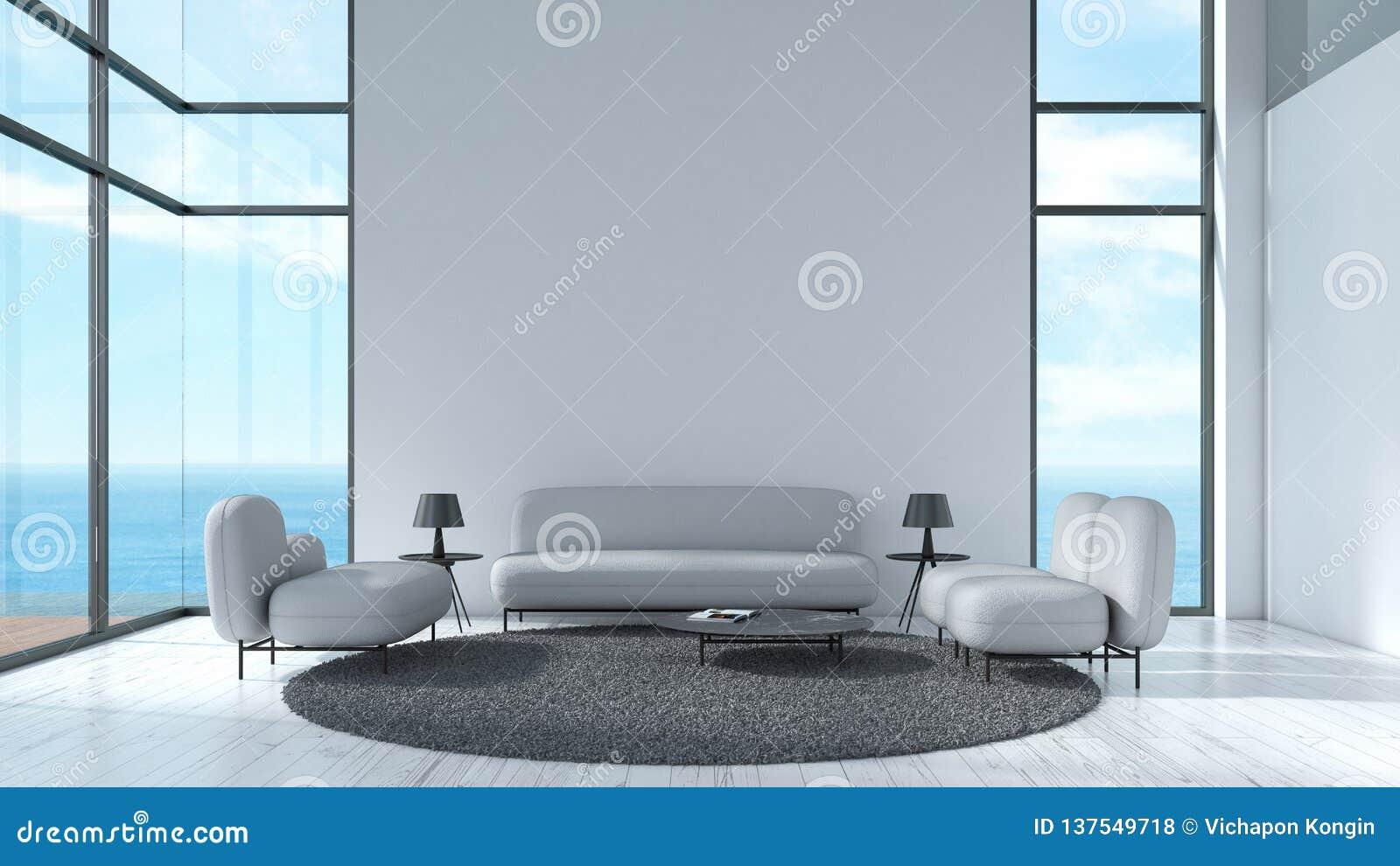 Parete bianca di struttura del pavimento di legno interno moderno del salone con il modello grigio di estate di vista del mare de