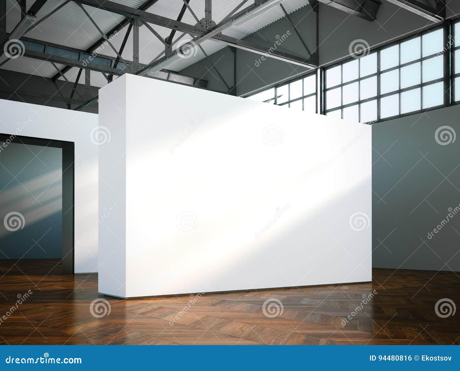 Parete in bianco in museo moderno rappresentazione 3d