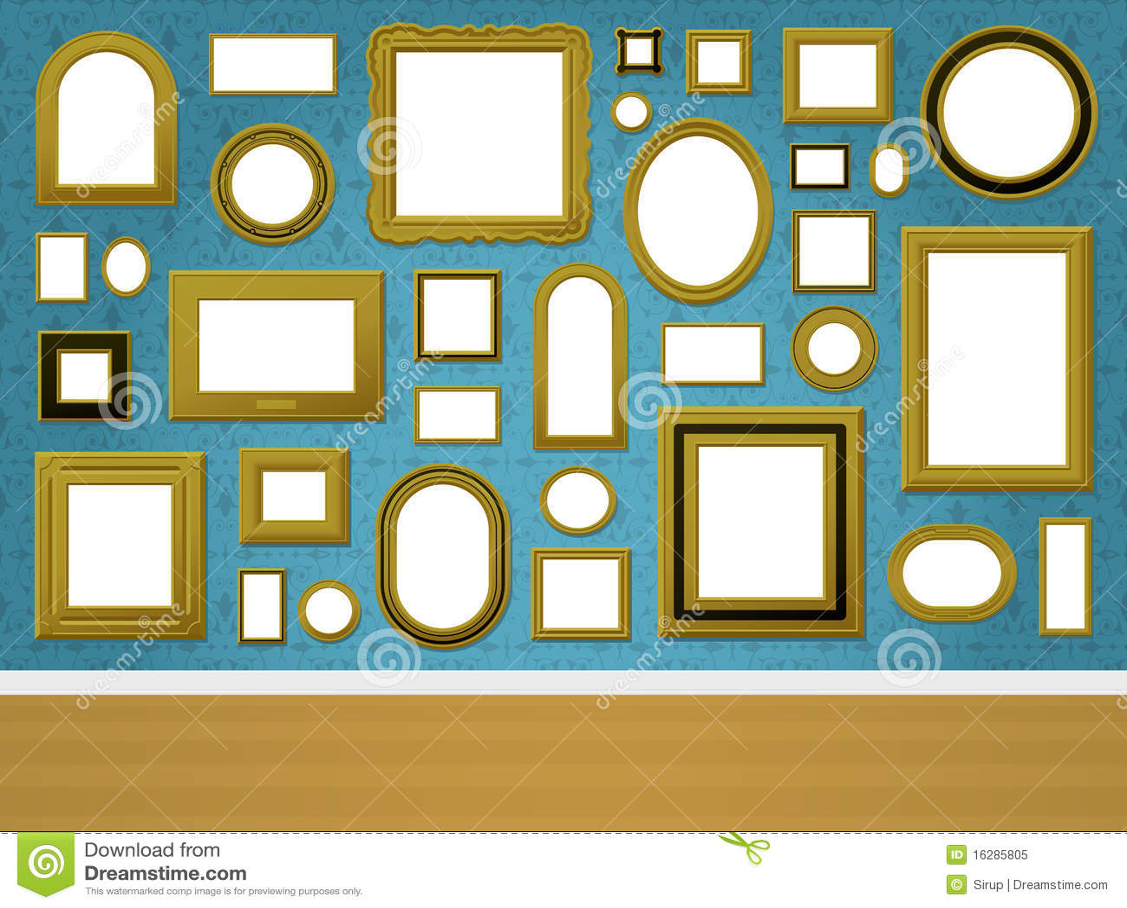Parete con le cornici dorate e wal ornamentale fotografia - Cornici da parete per foto ...