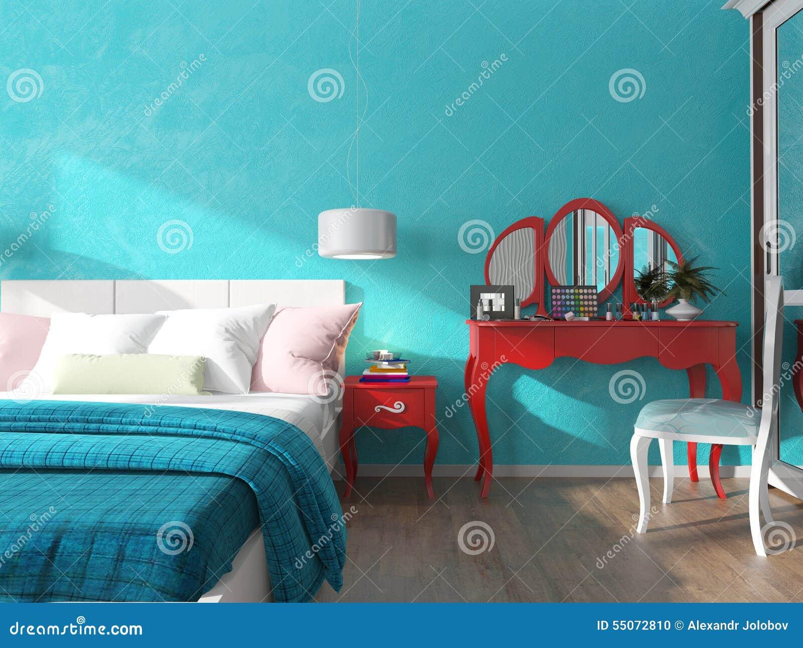 Parete del turchese nella camera da letto illustrazione di - Parete nera camera da letto ...