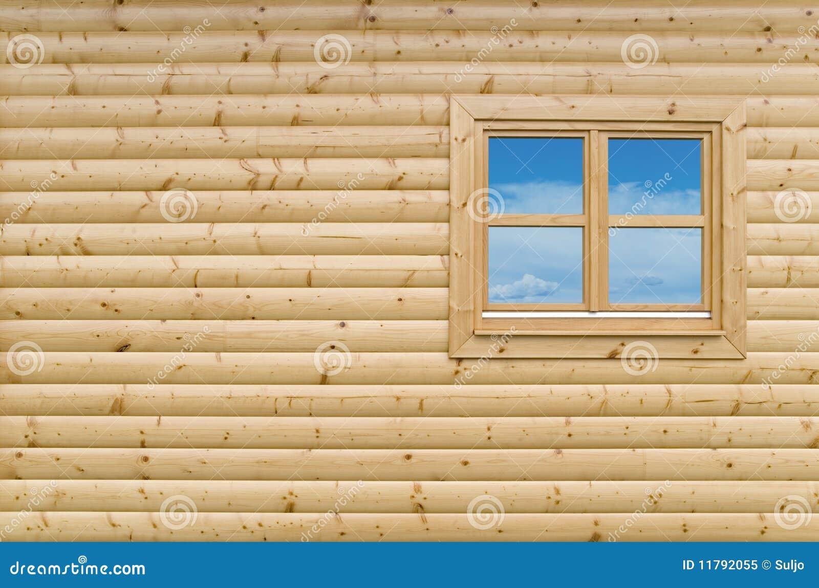 costruire parete di legno : ... parete della facciata del nuovo cottage di legno con la finestra
