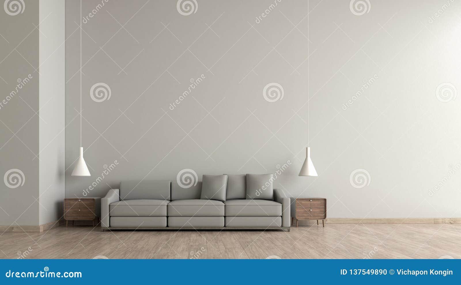Parete di legno di struttura del cemento bianco del pavimento del salone interno moderno con il modello grigio del sofà per deris