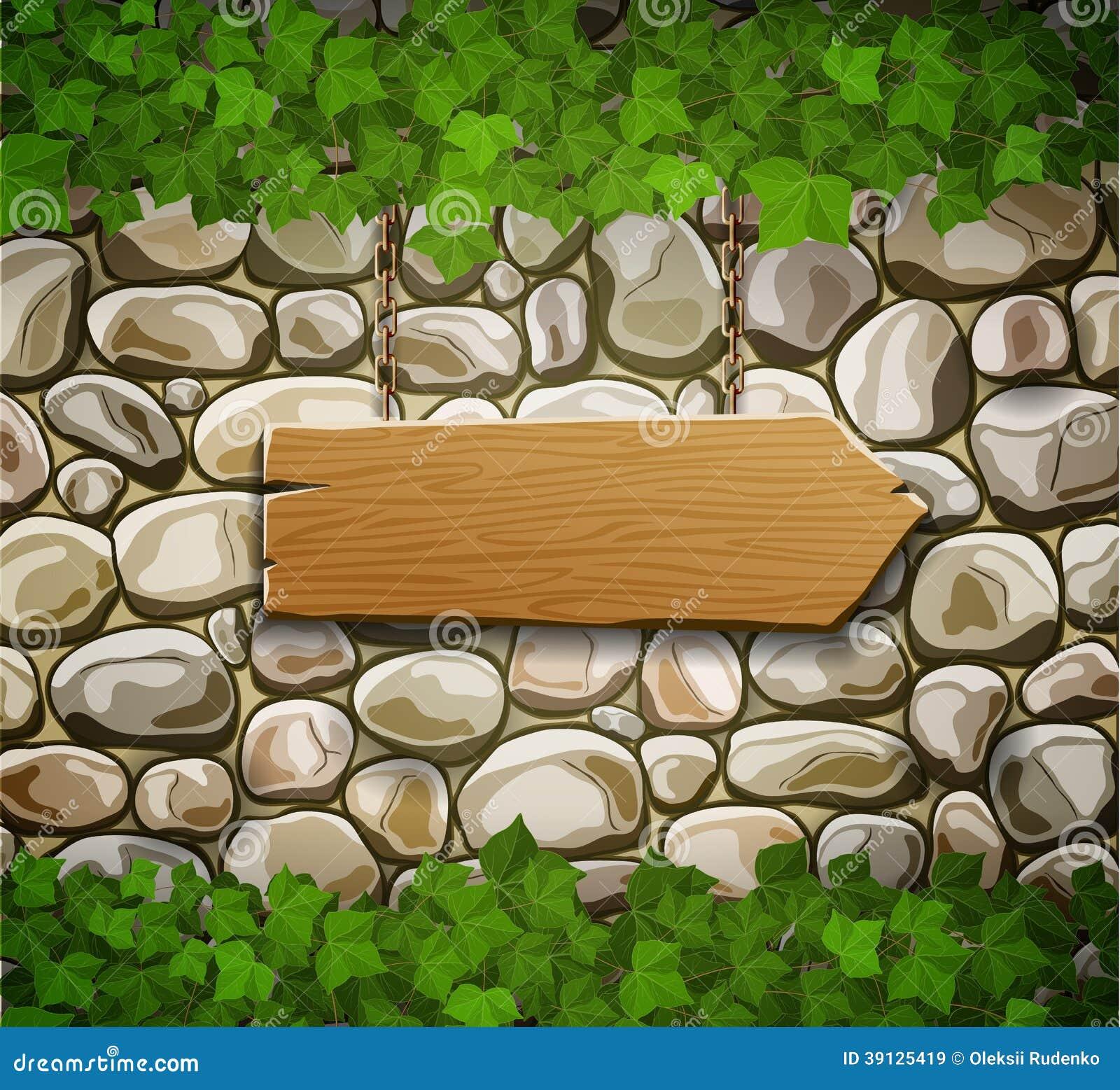 Parete di pietra con la freccia di legno illustrazione - Parete di pietra ...