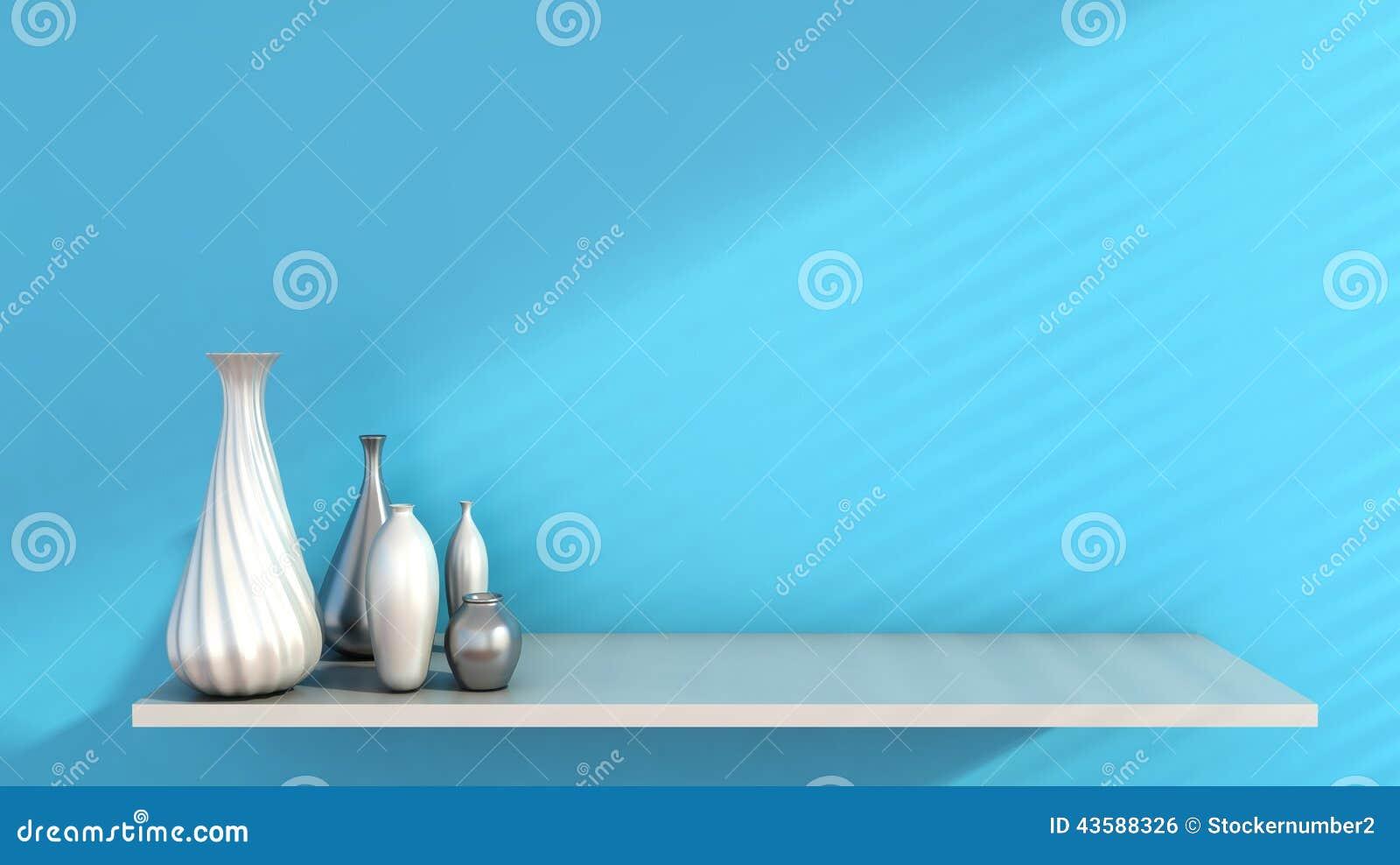 Parete e ceramico interni sullo scaffale decorato, rappresentazione 3d