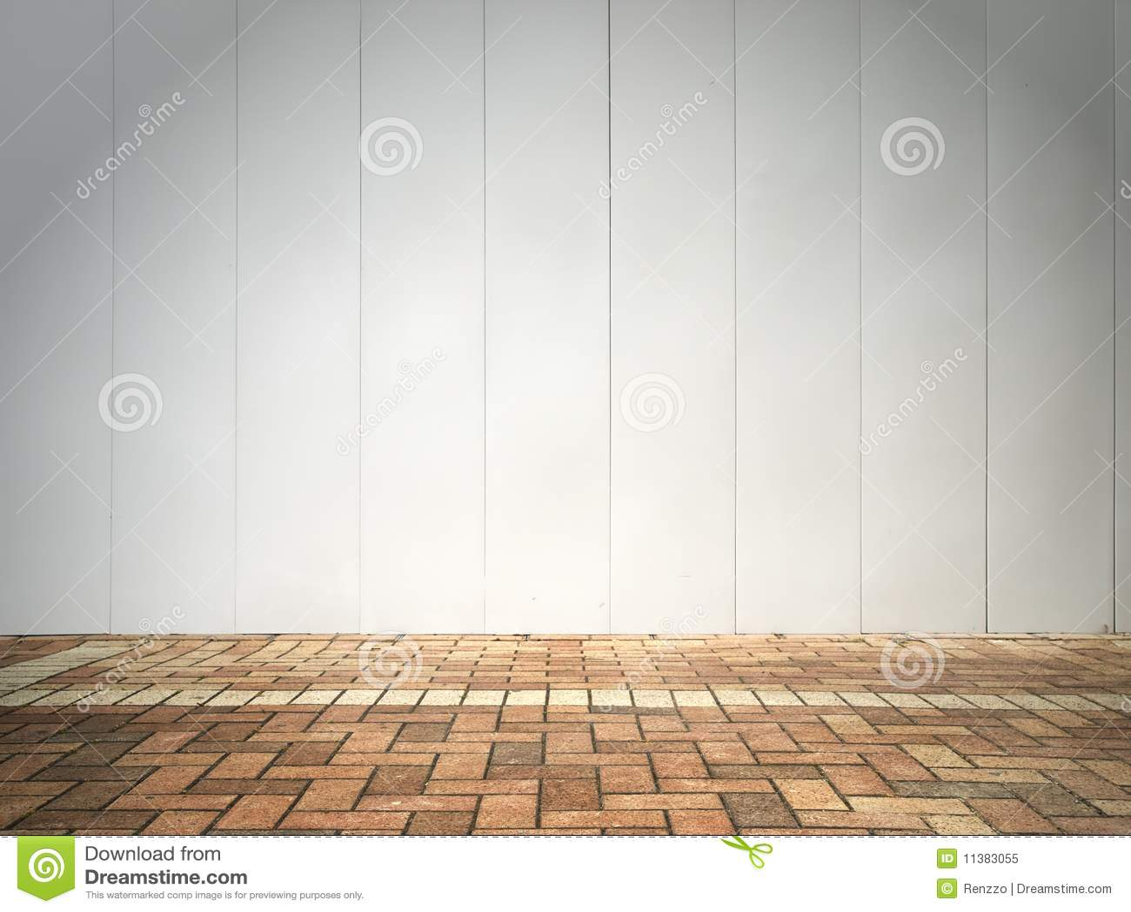 Parete e pavimento bianchi del mattone immagine stock for Costo del mattone da costruire