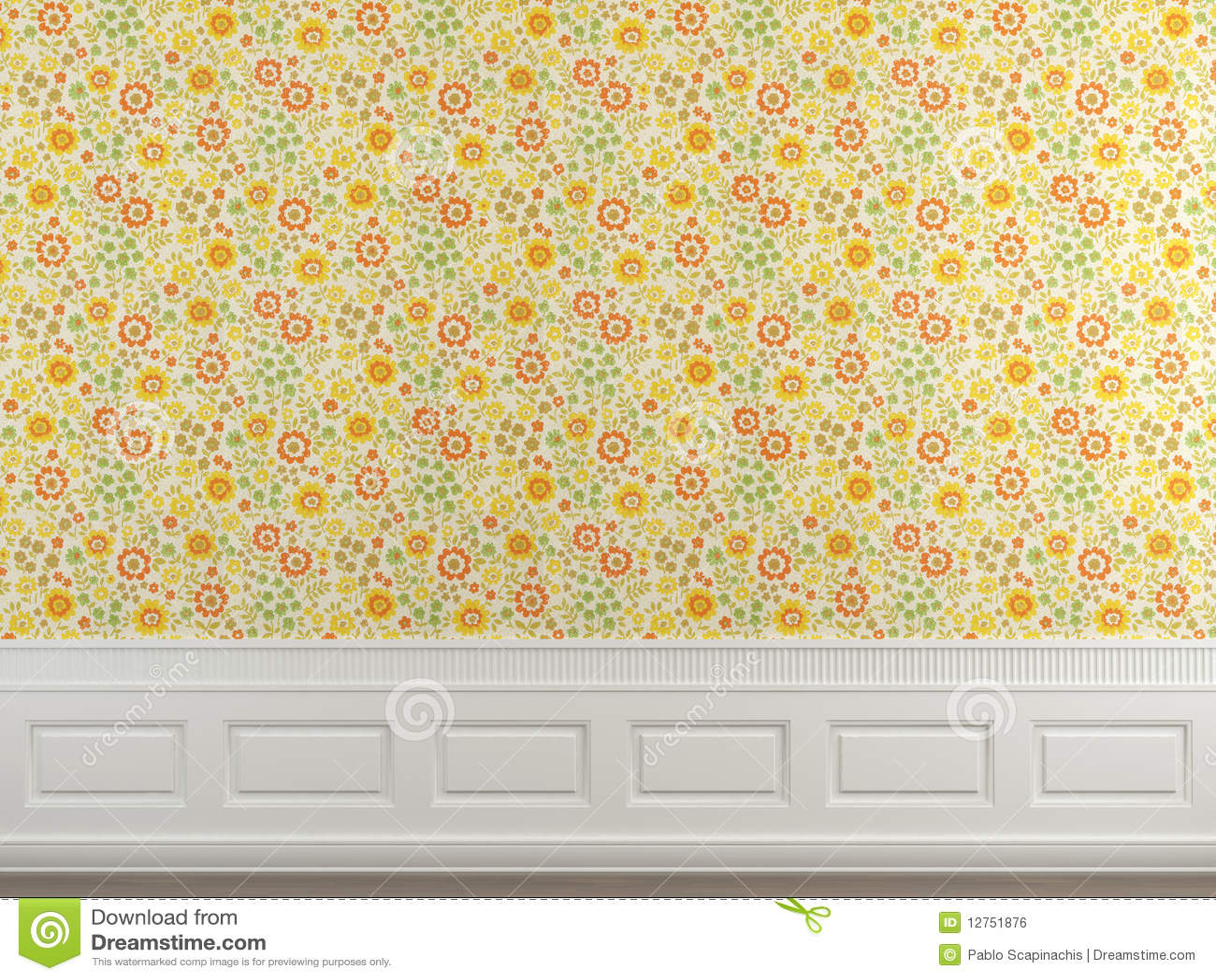 Parete fiorita della carta da parati immagine stock libera for Carta da parete adesiva