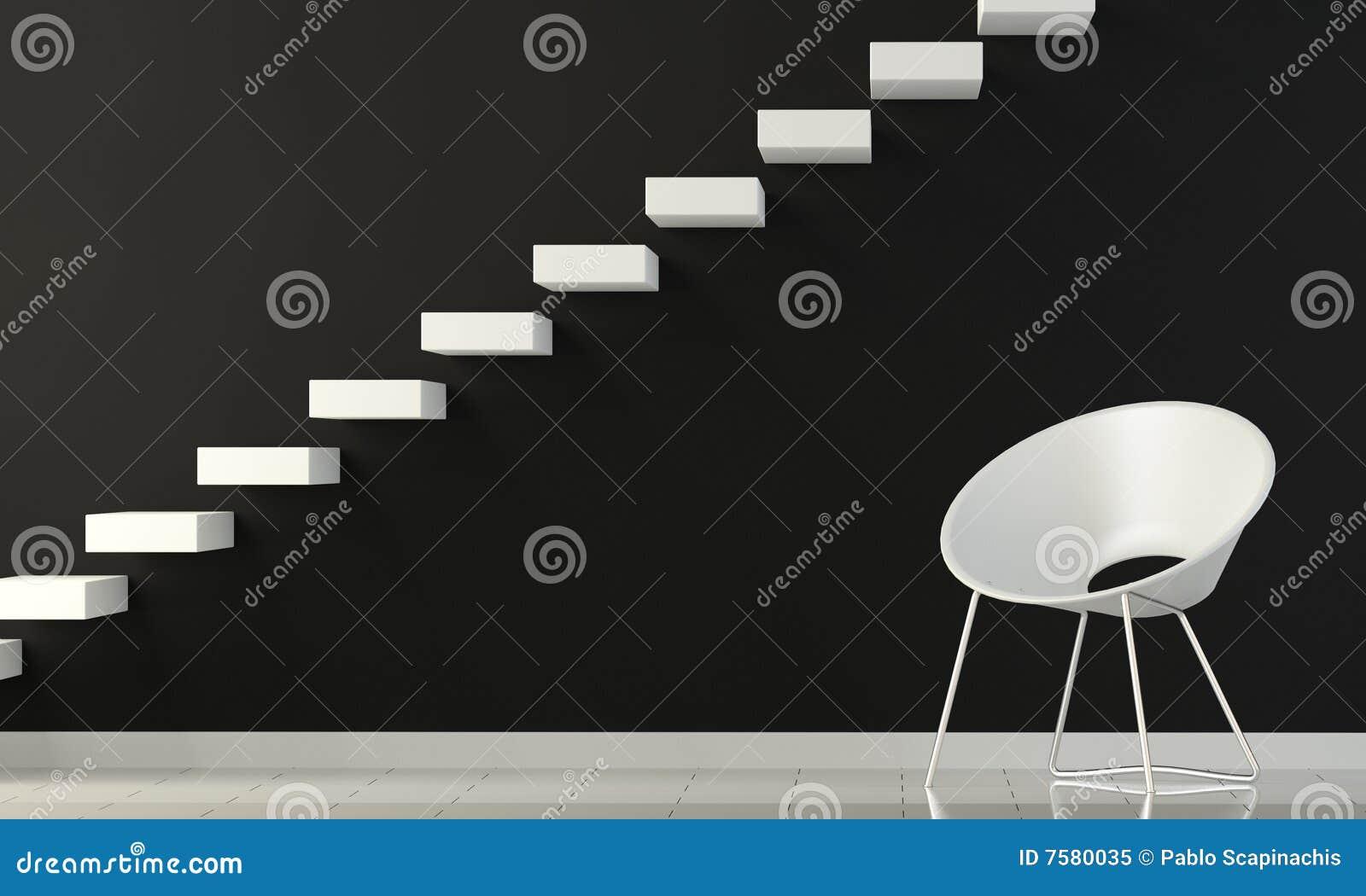 Parete Scala Interna : Parete interna in bianco e nero con la presidenza e la scala