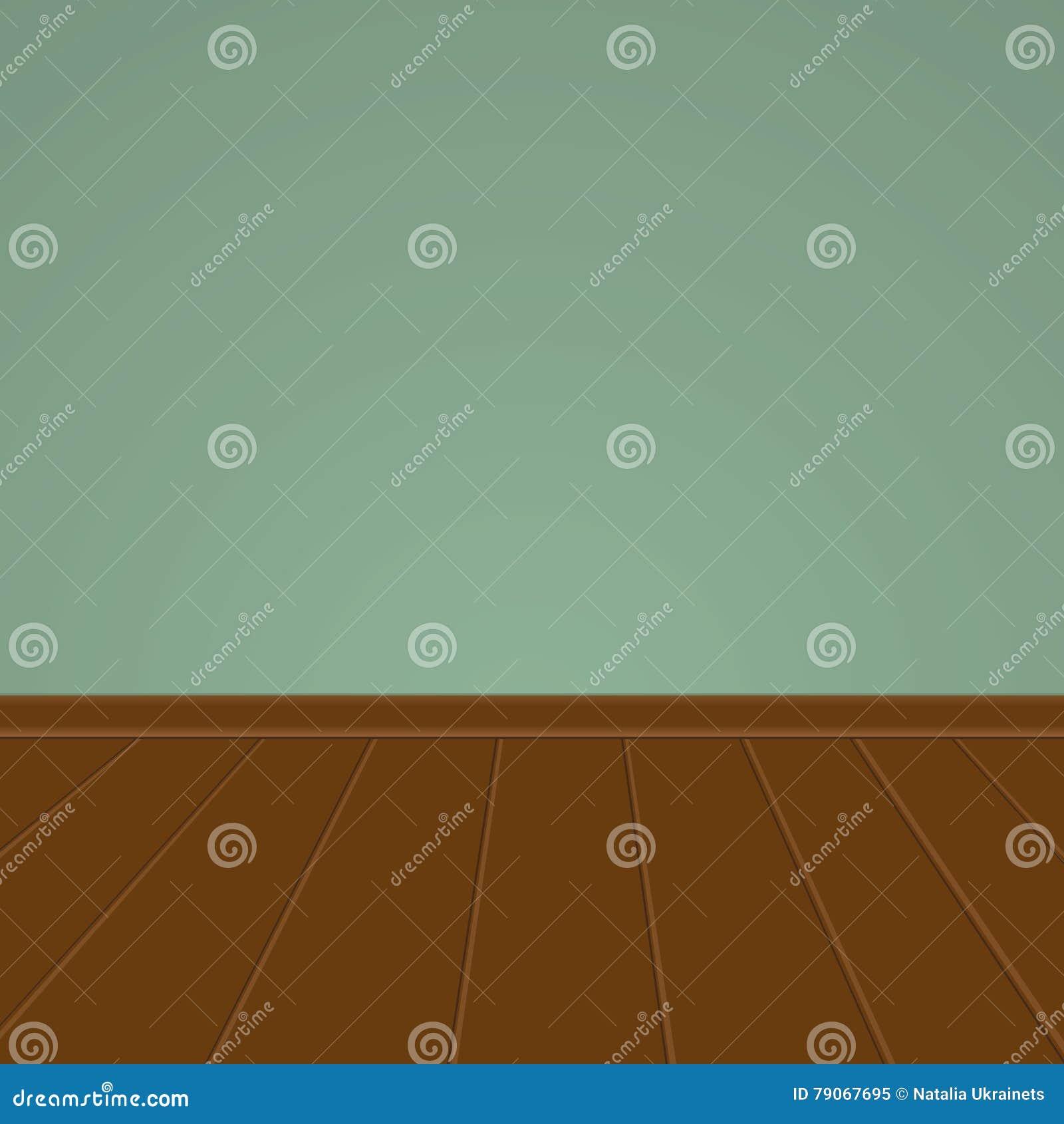 Parete verde con un pavimento di legno