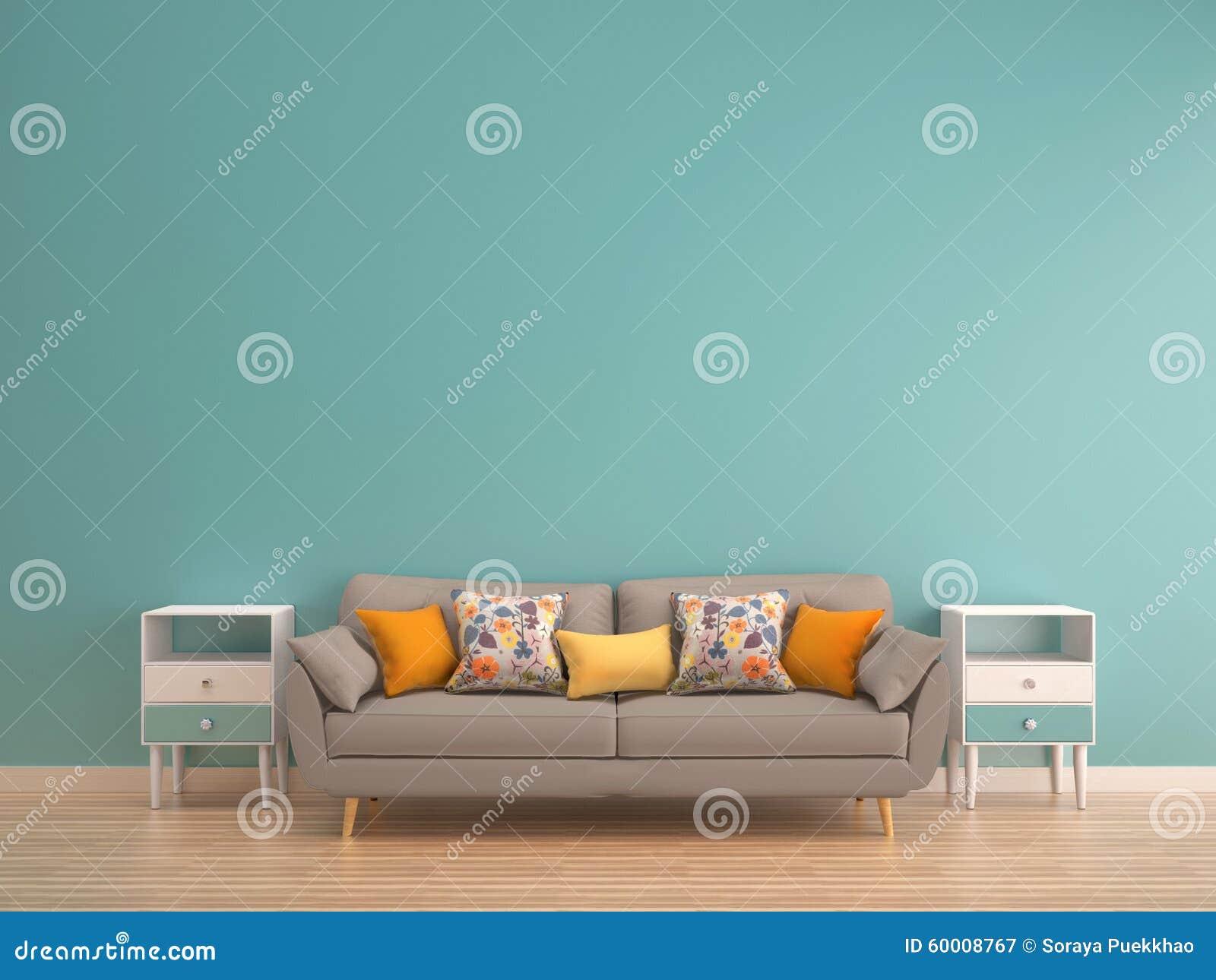 Credenza Da Appendere : Parete verde della menta con il sofà credenza sul pavimento di