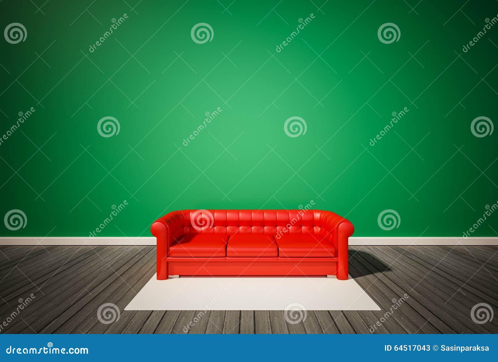 Pavimento Rosso E Bianco : Parete verde e pavimento di legno scuro con il sofà rosso ed il