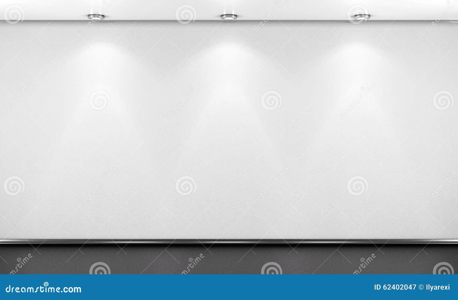 Parete vuota della stanza bianca con illuminazione d rendono i