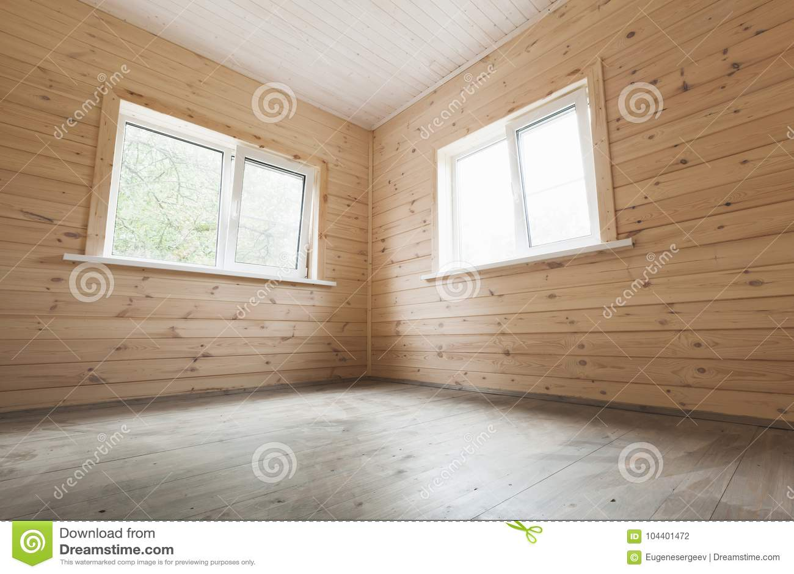 Pareti Interne In Legno : Pareti interne e di legno vuote e due finestre fotografia stock