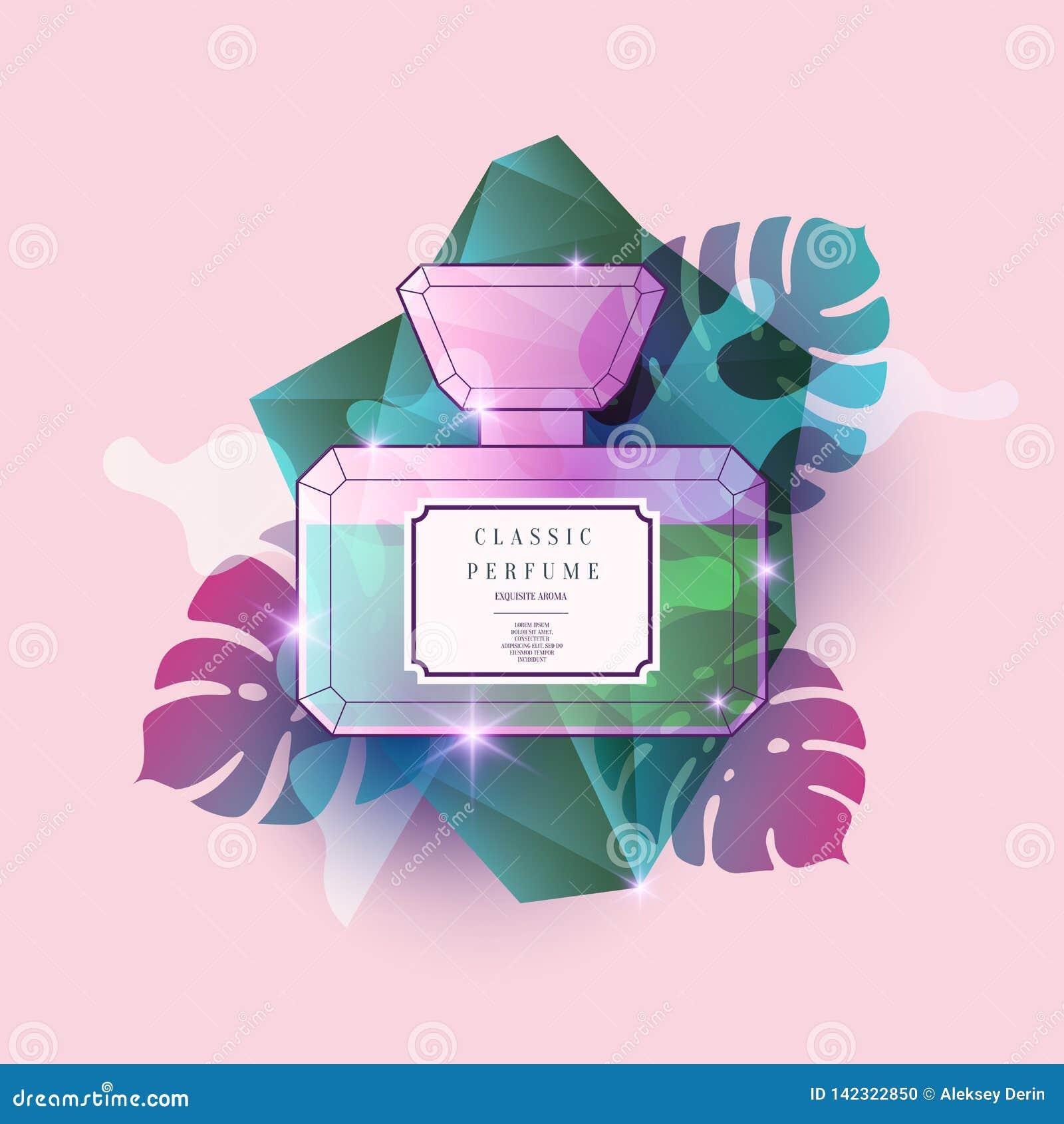 Parfümflasche mit geometrischem Muster Helles modernes Plakat für Werbung und Verkauf Duft