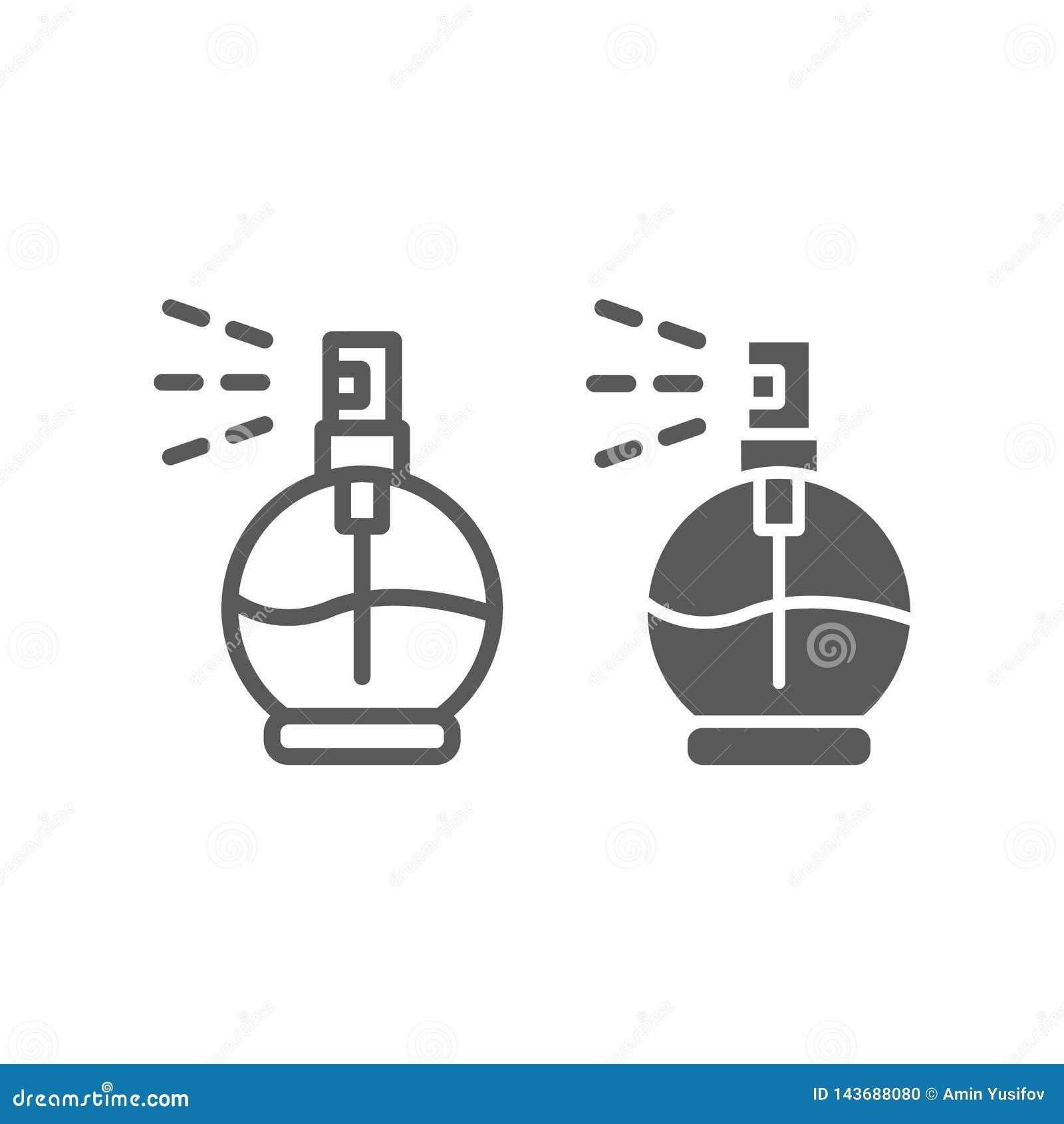 Parfümieren Sie Linie und Glyphikone, Aroma und Duft, Colognezeichen, Vektorgrafik, ein lineares Muster auf einem weißen Hintergr