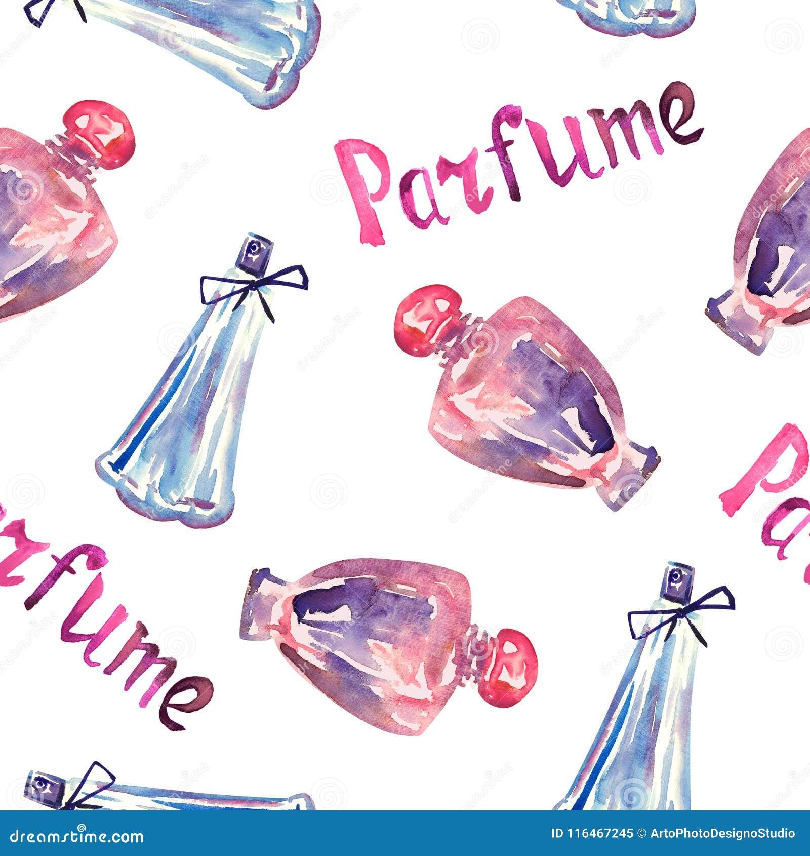 Parfum roze en blauwe flessen, hand geschilderde waterverfillustratie, inschrijving ` Parfume ` in Frans, naadloos patroon