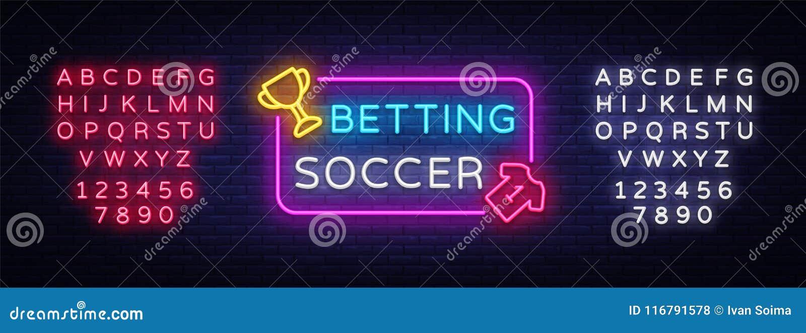 06e670582b6 Pari du vecteur de néon du football Pari de l enseigne au néon du football  Enseigne lumineuse de nuit sur jouer