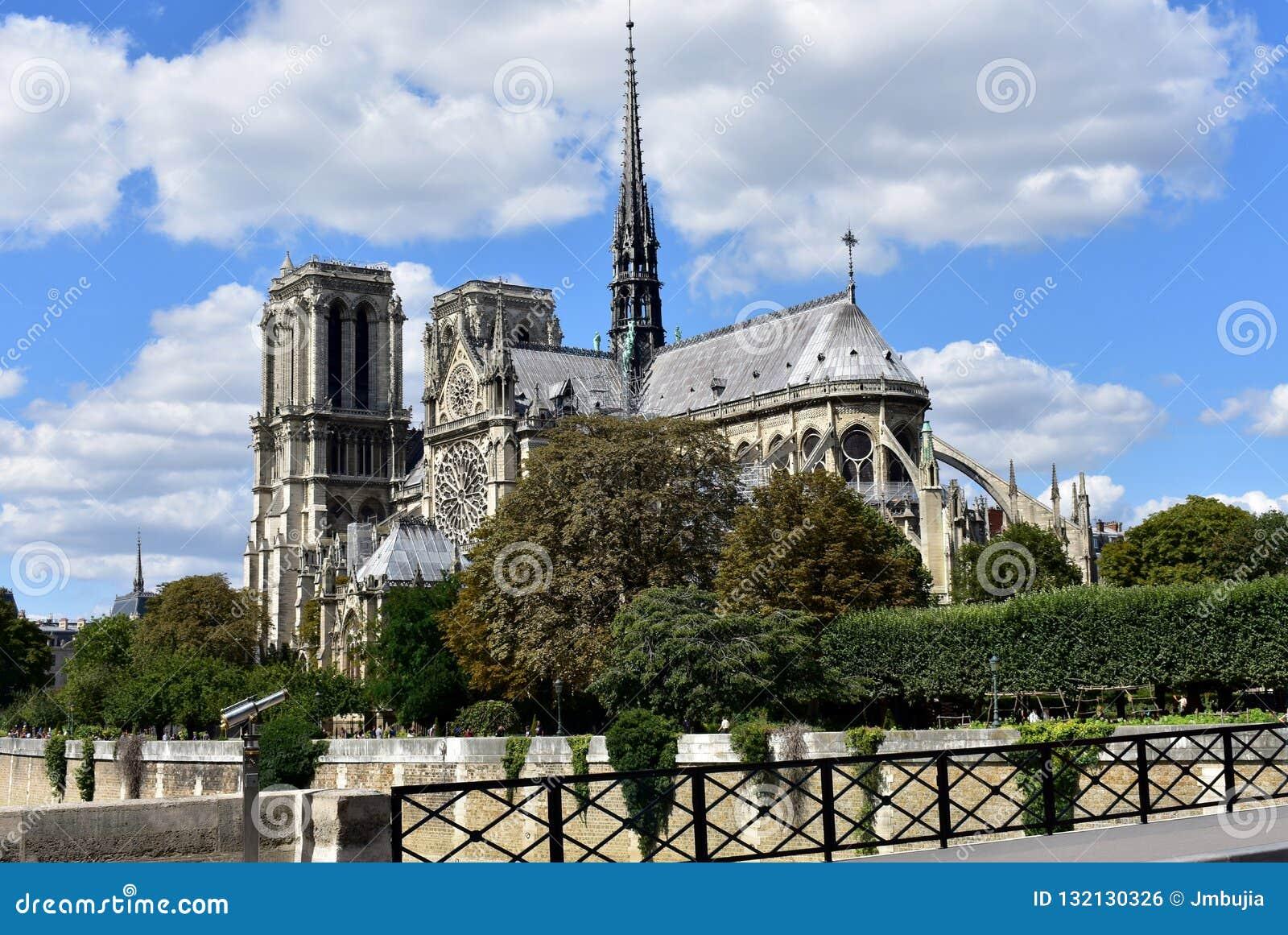 Parigi, Francia Notre Dame Cathedral dal ponte sopra la Senna Alberi e passeggiata del fiume Cielo blu con le nubi