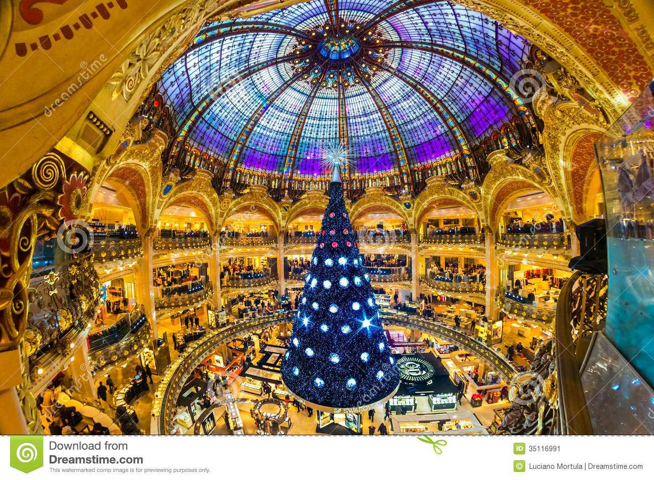 Parijs december 07 de kerstboom in galeries lafayette redactionele foto afbeelding 35116991 - Decoratie themakamer paris ...