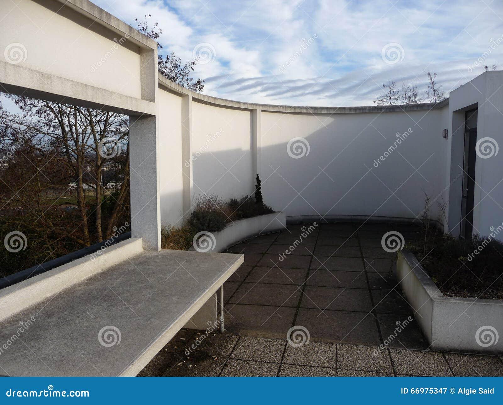 Parijs villa savoye boven terras stock afbeelding afbeelding