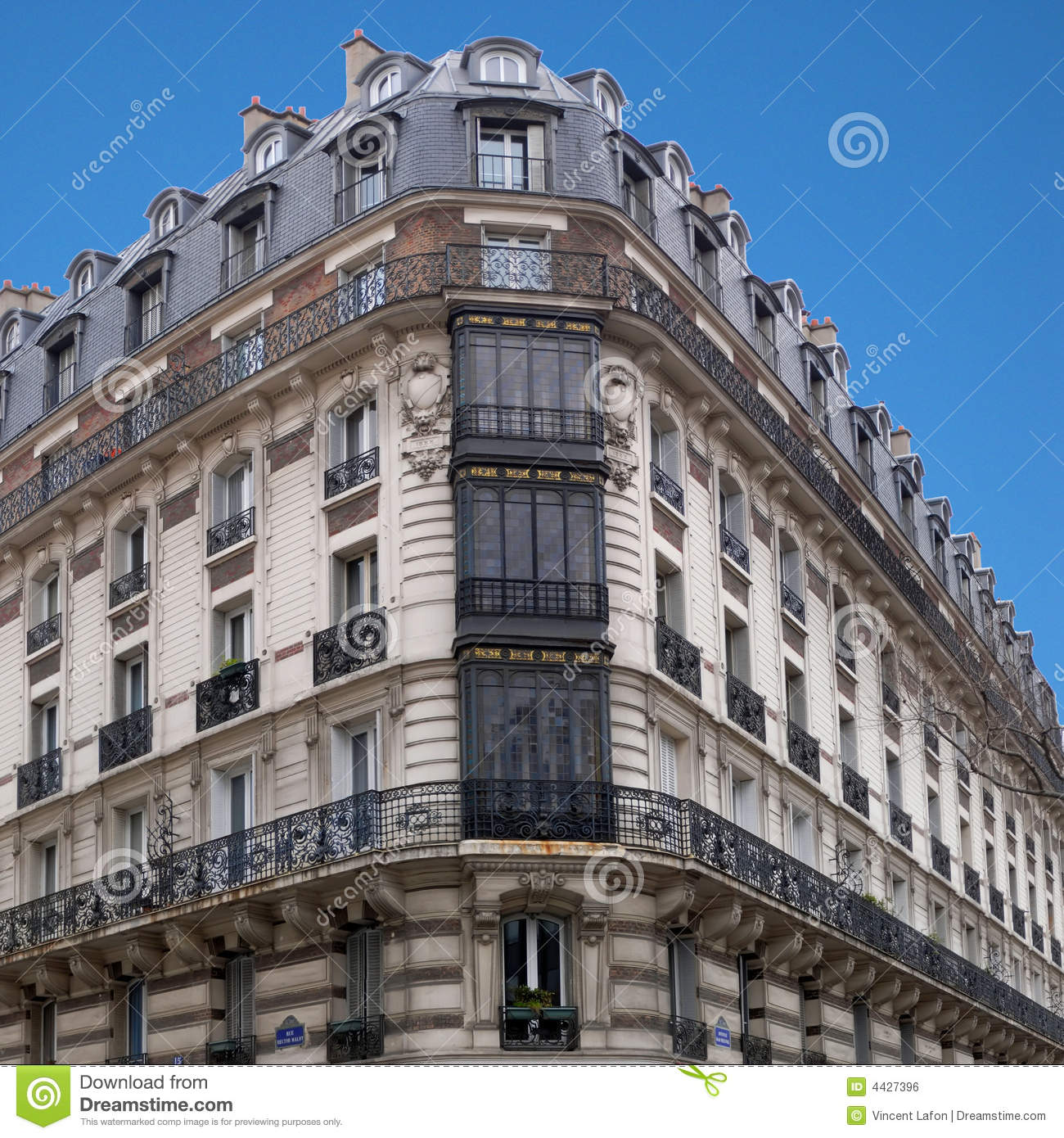 paris architecture h malot corner house 1 stock photo image of construction landmark 4427396. Black Bedroom Furniture Sets. Home Design Ideas