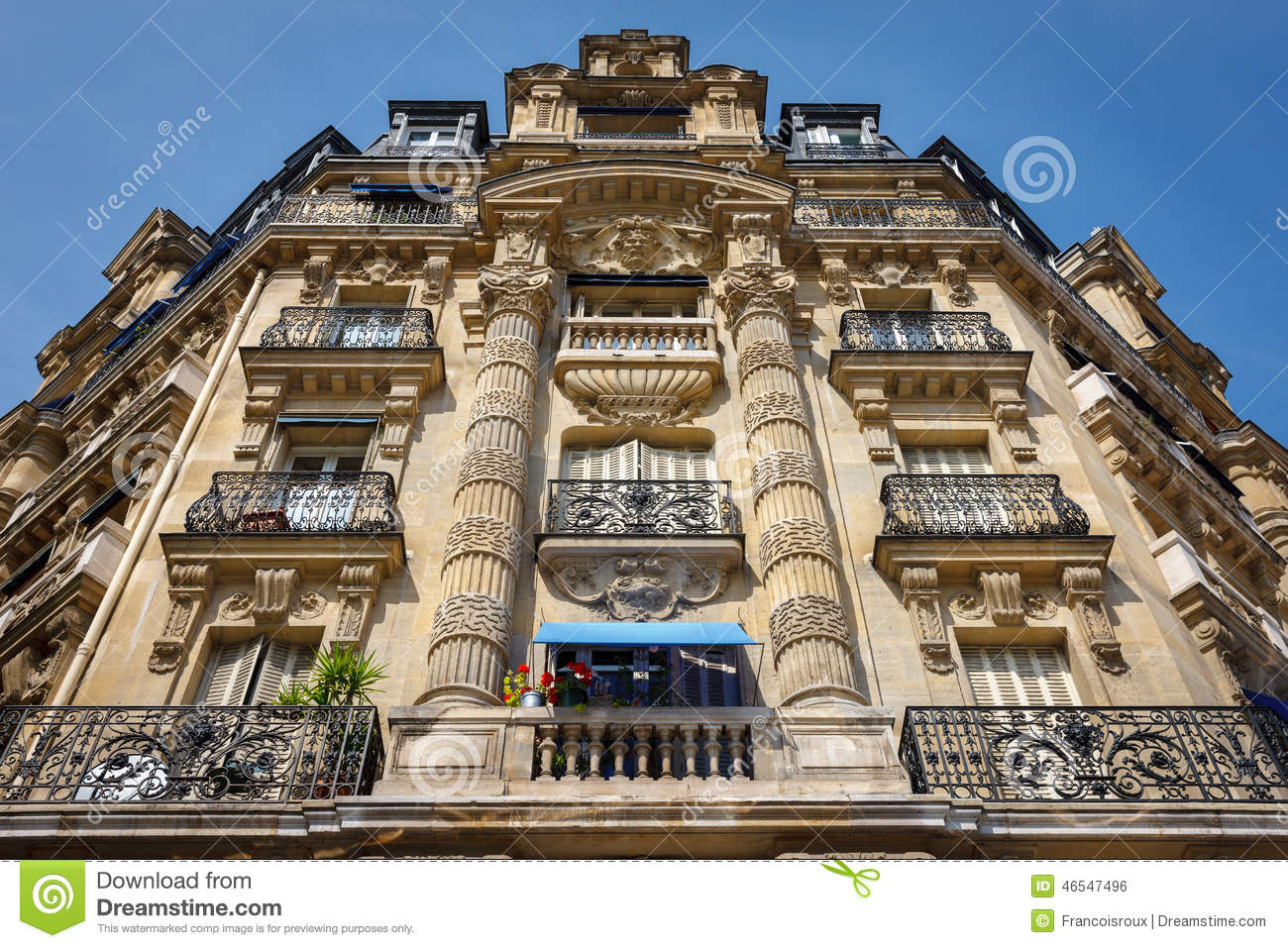 paris architecture haussmannian facade and ornaments stock photo image 46547496. Black Bedroom Furniture Sets. Home Design Ideas