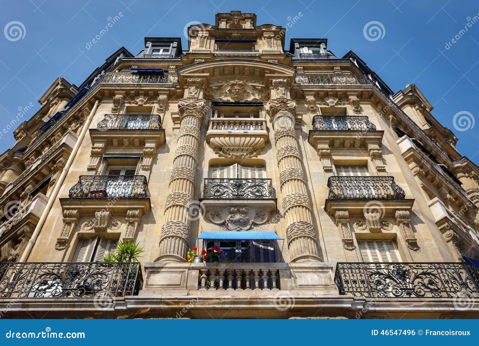 paris architecture haussmannian facade and ornaments stock photo image 46547496. Black Bedroom Furniture Sets. Home Design Ideas