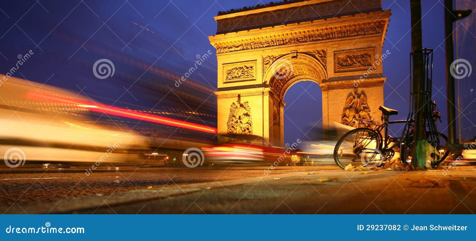 Download Paris Arco do Triunfo fotografia editorial. Imagem de noite - 29237082