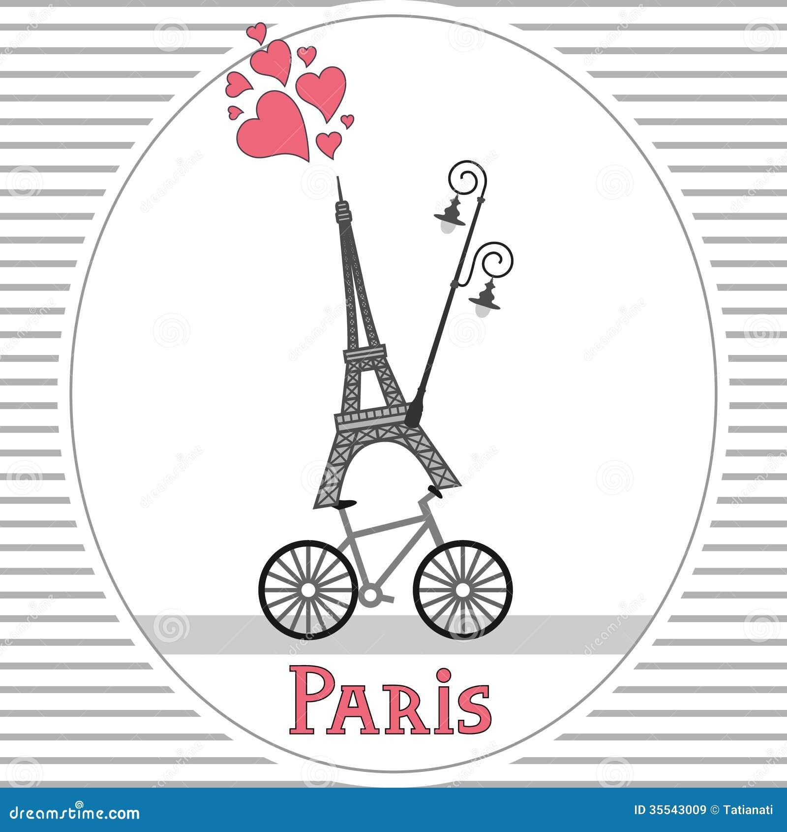 paris bike card royalty free stock images