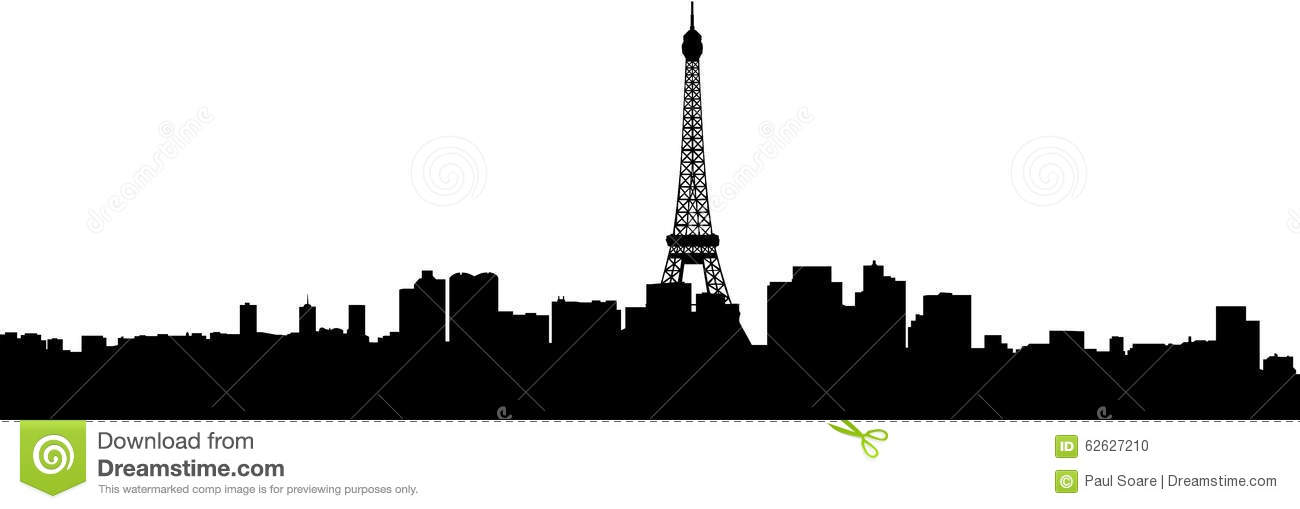 Paris city buildings silhouette skyline