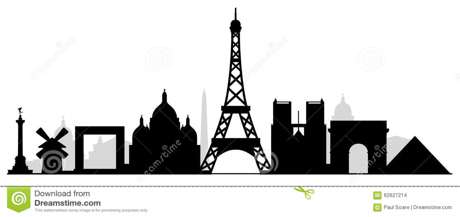 Paris city buildings silhouette skyline