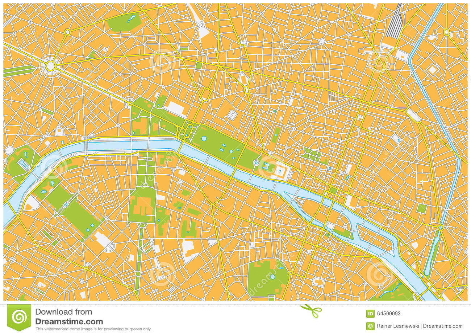 Paris City Map Stock Illustration Image - Paris road map