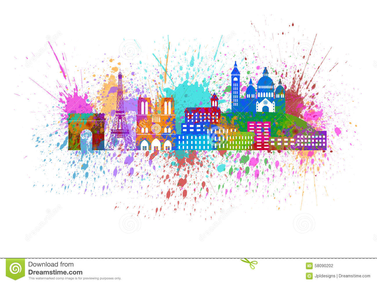 Watercolor splatter vector abstract watercolor background - Paris City Skyline Paint Splatter Color Illustration Stock