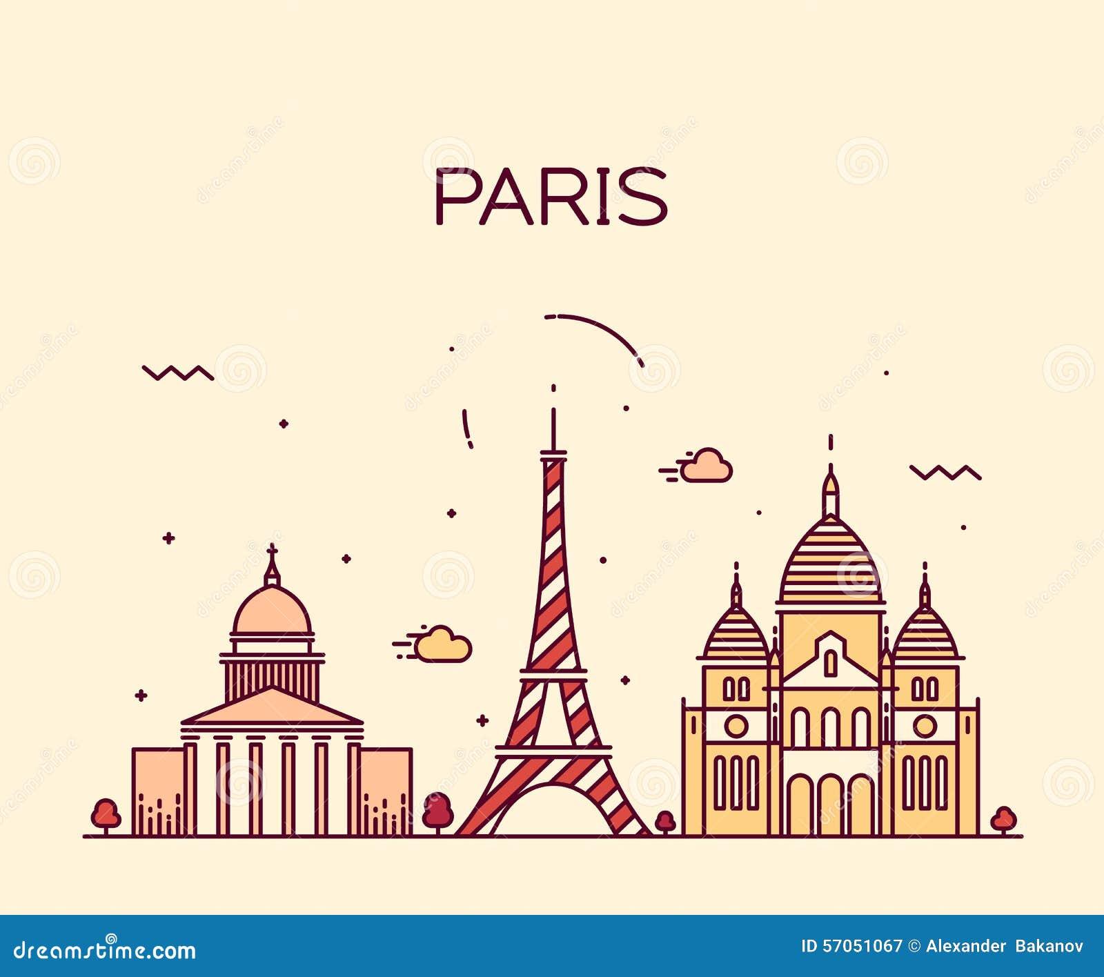 Paris Illustration: Vector Paris Silhouette Skyline Cartoon Vector
