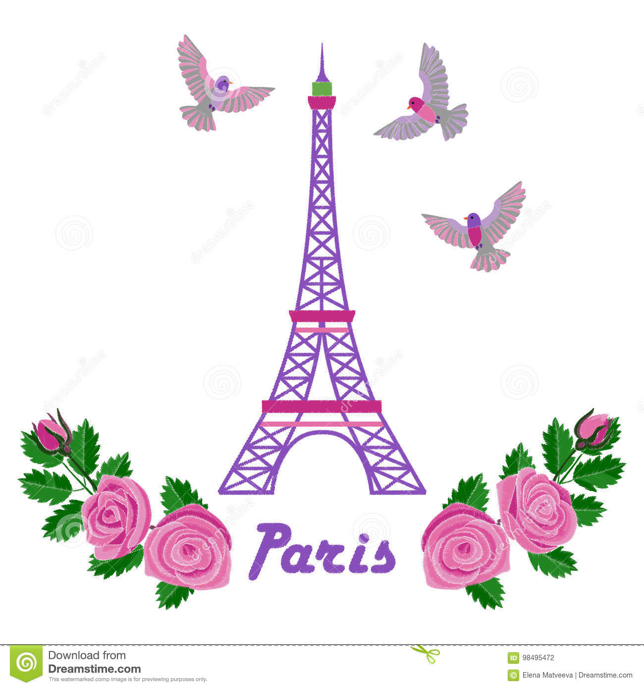 Paris Embroidery Pattern Stock Vector Illustration Of Tower 98495472