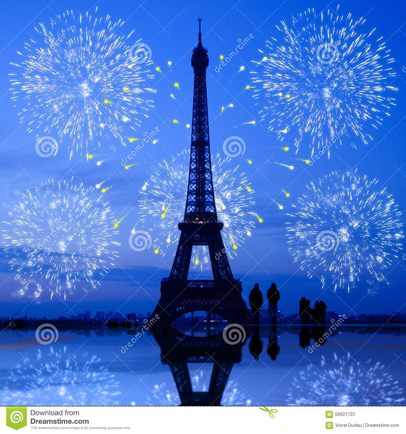 paris fireworks at eiffel tower stock photo - image of lights