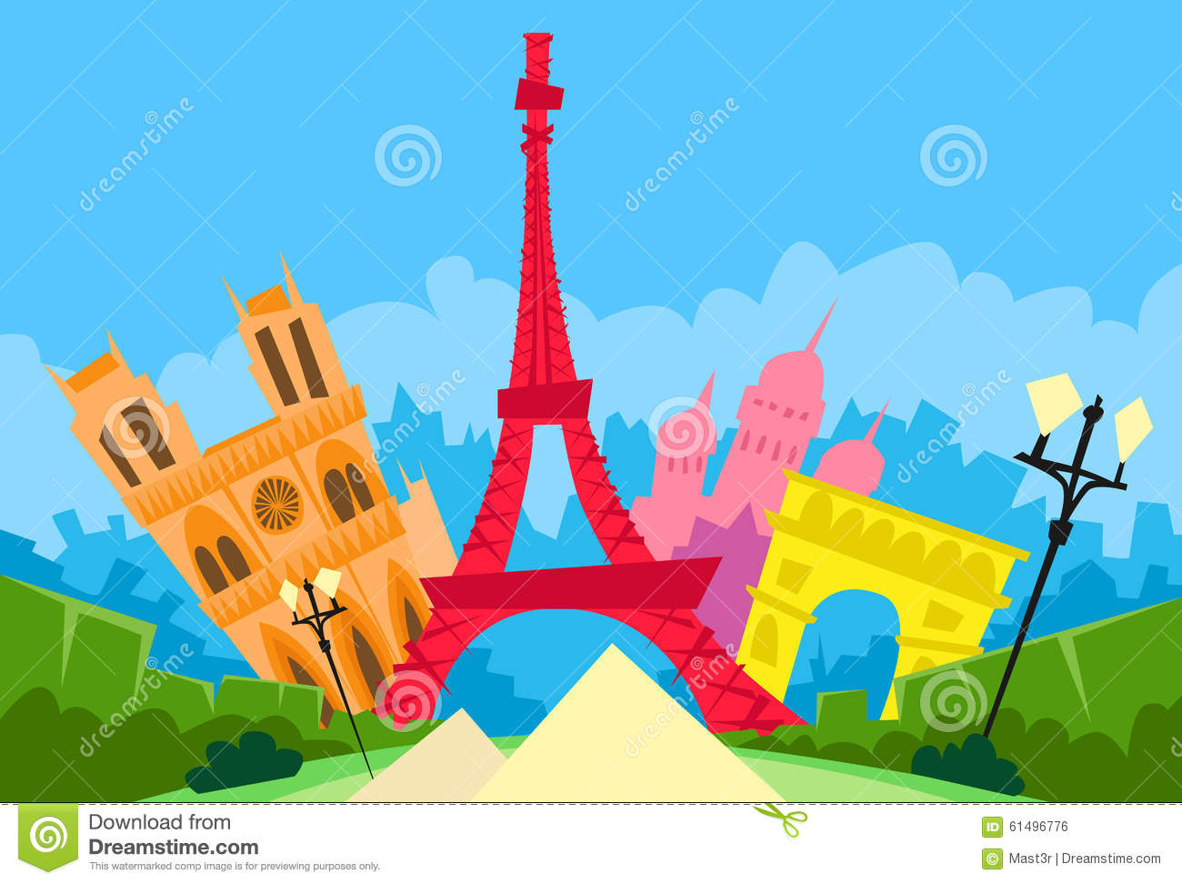 Paris France Abstract City Silhouette Flat Stock Vector Illustration Of House Cartoon 61496776