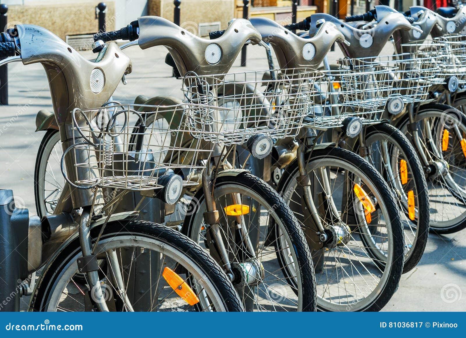 Paris, France - April 02, 2009: Velib station public bicycle rental in Paris. Velib has the highest market penetration comapring