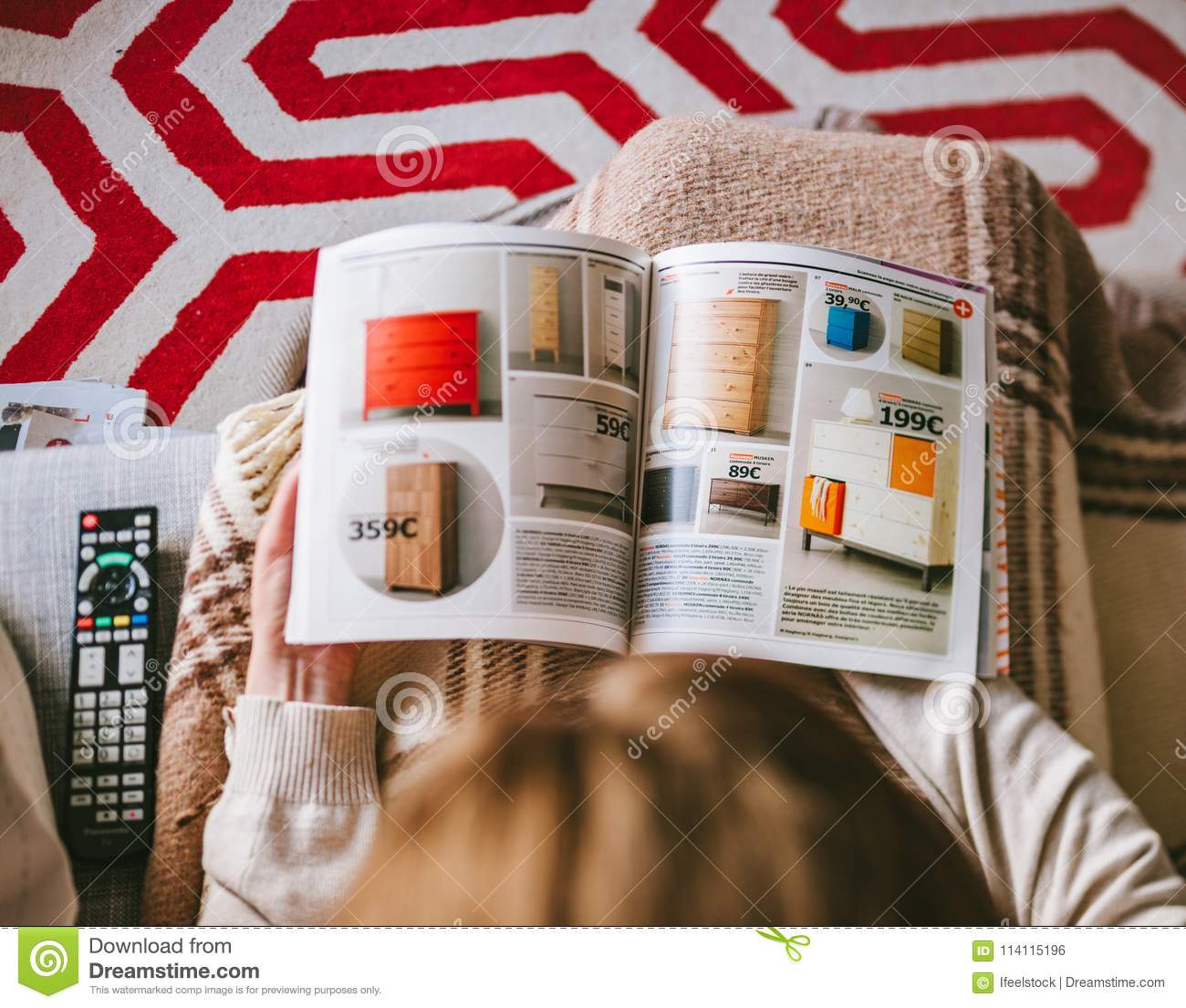 Download Reading IKEA Catalogue Woman Read From Above Editorial Photo    Image Of Reading, Lifestyle
