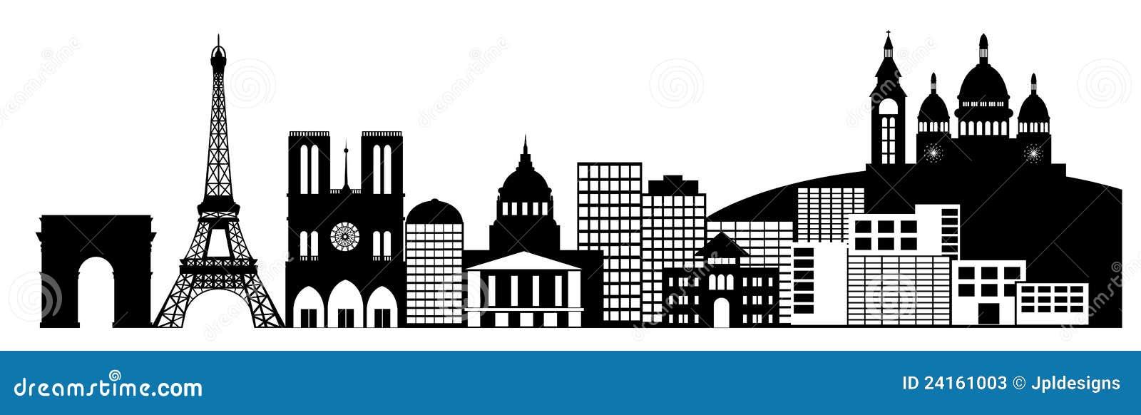 Paris france city skyline panorama black and white silhouette clip art