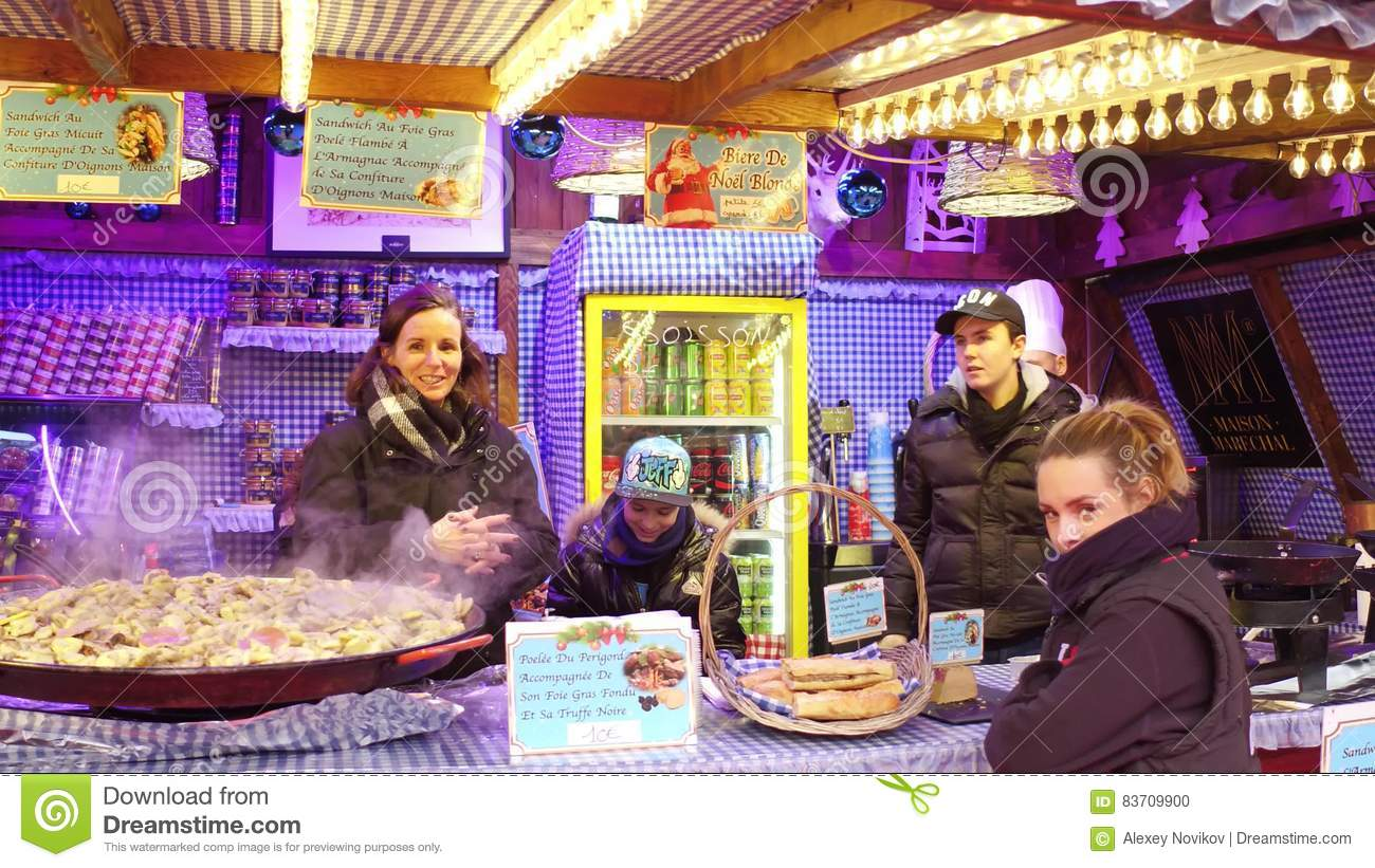 PARIS, FRANCE - DECEMBER, 31. Christmas And New Year Market Fastfood Stall Vendors. Traditional Foie Gras Sandwiches Editorial Image