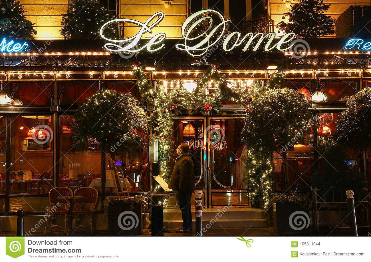 Christmas Paris France.The Famous Restaurant Le Dome Decorated For Christmas Paris
