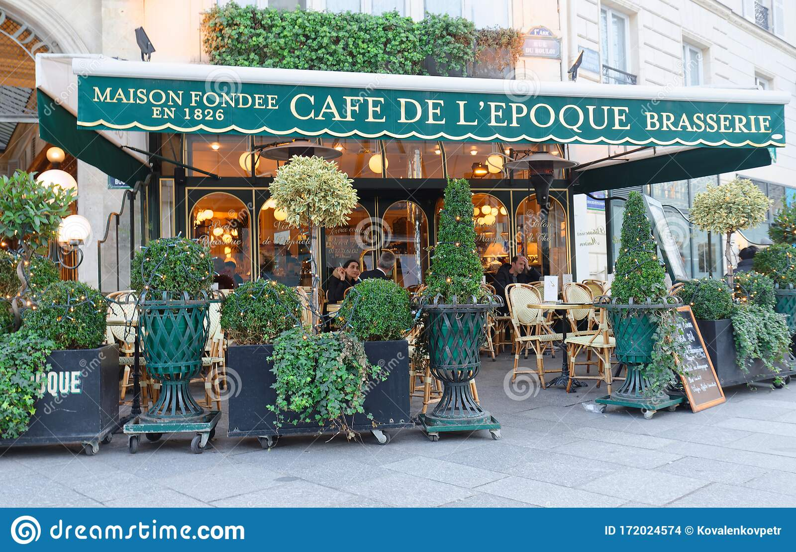 View Of Vintage Paris Cafe De Belle Epoque Located In Quarter Of Commercial Bourse In Paris France Editorial Stock Image Image Of Terrace Architecture 172024574