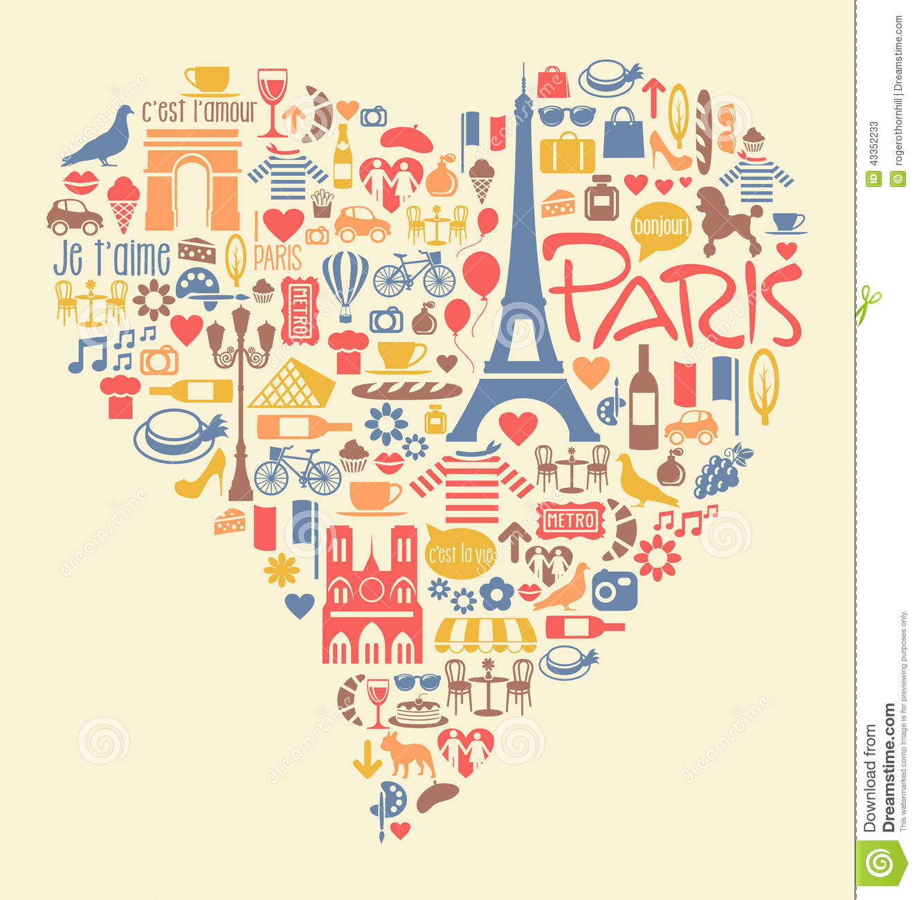 Paris France Icons Landmarks And Attractions Stock Vector